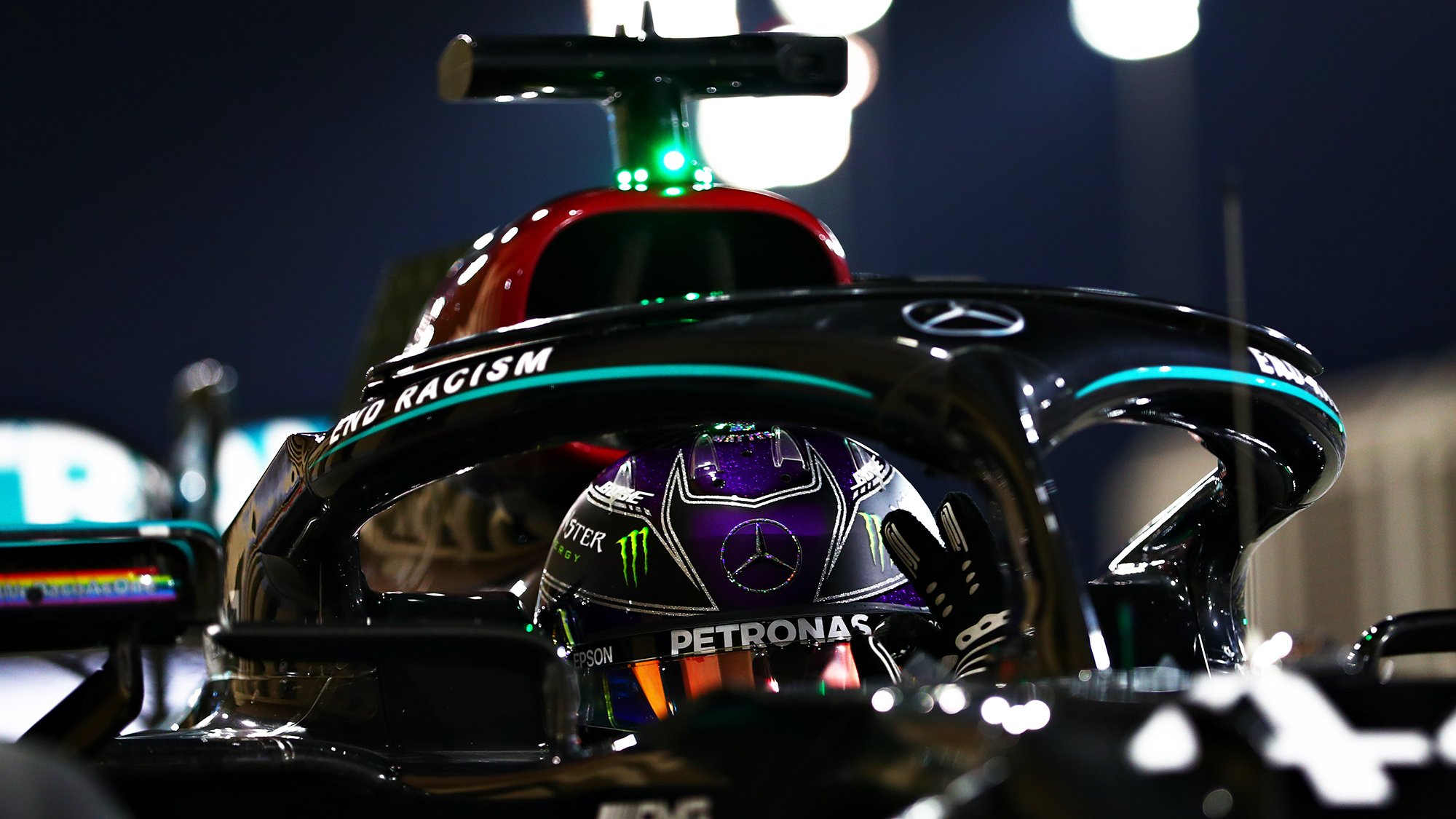 Lewis Hamilton gives the ok sign after qualifying on pole for the 2020 F1 Bahrain Grand Prix