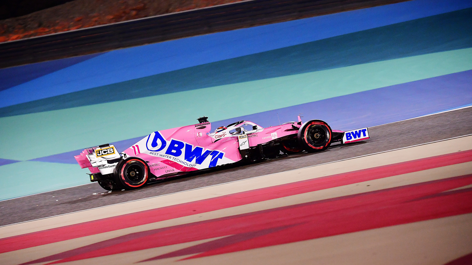 Sergio Perez in the Racing Point during qualifying for the 2020 F1 Bahrain Grand Prix