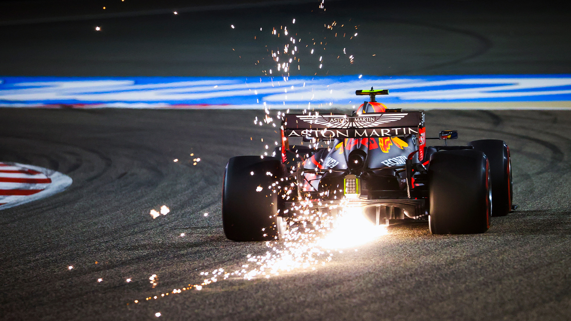 Sparks fly from the Red Bull of Alex Albon during the 2020 F1 Bahrain Grand Prix qualifying