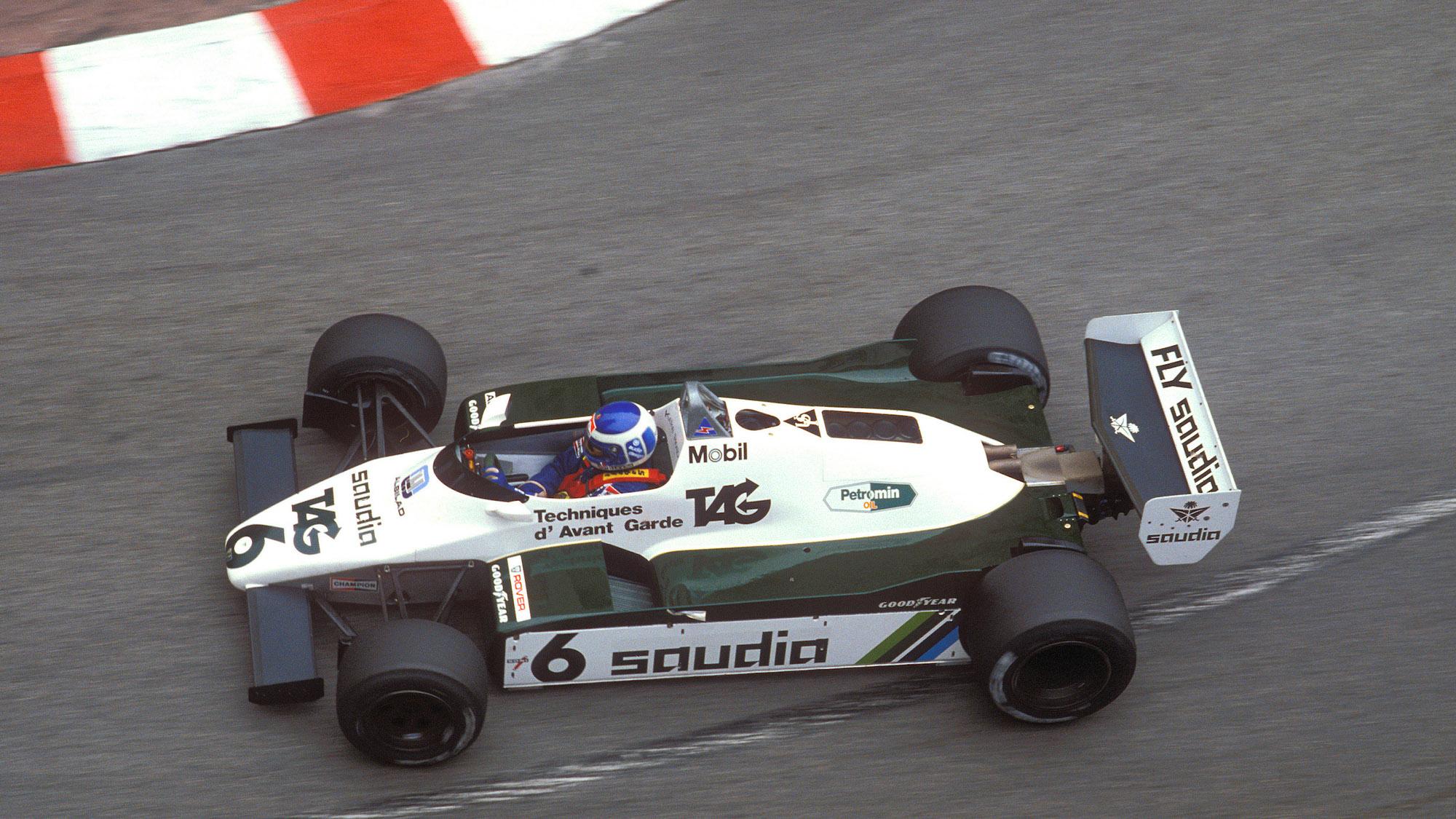 Keke Rosberg in the Williams at the 1982 Monaco Grand Prix