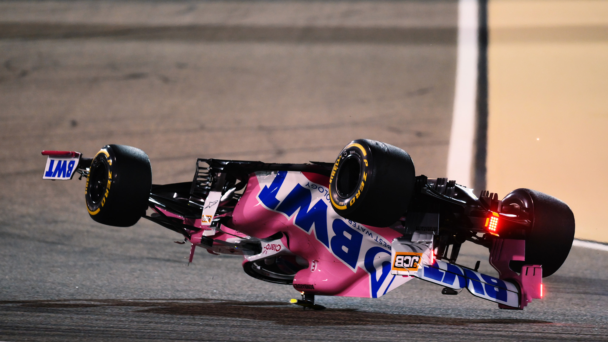Lance Stroll's Racing Point upside down at the 2020 F1 Bahrain Grand Prix