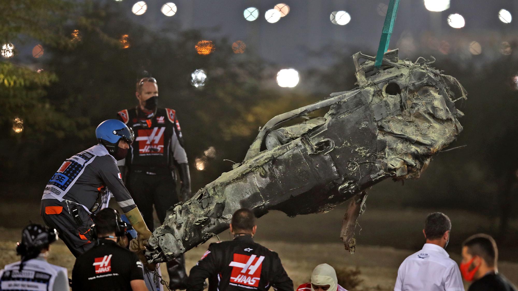 Wreckage of Romain Grosjeans Haas after the 2020 F1 Bahrain Grand Prix