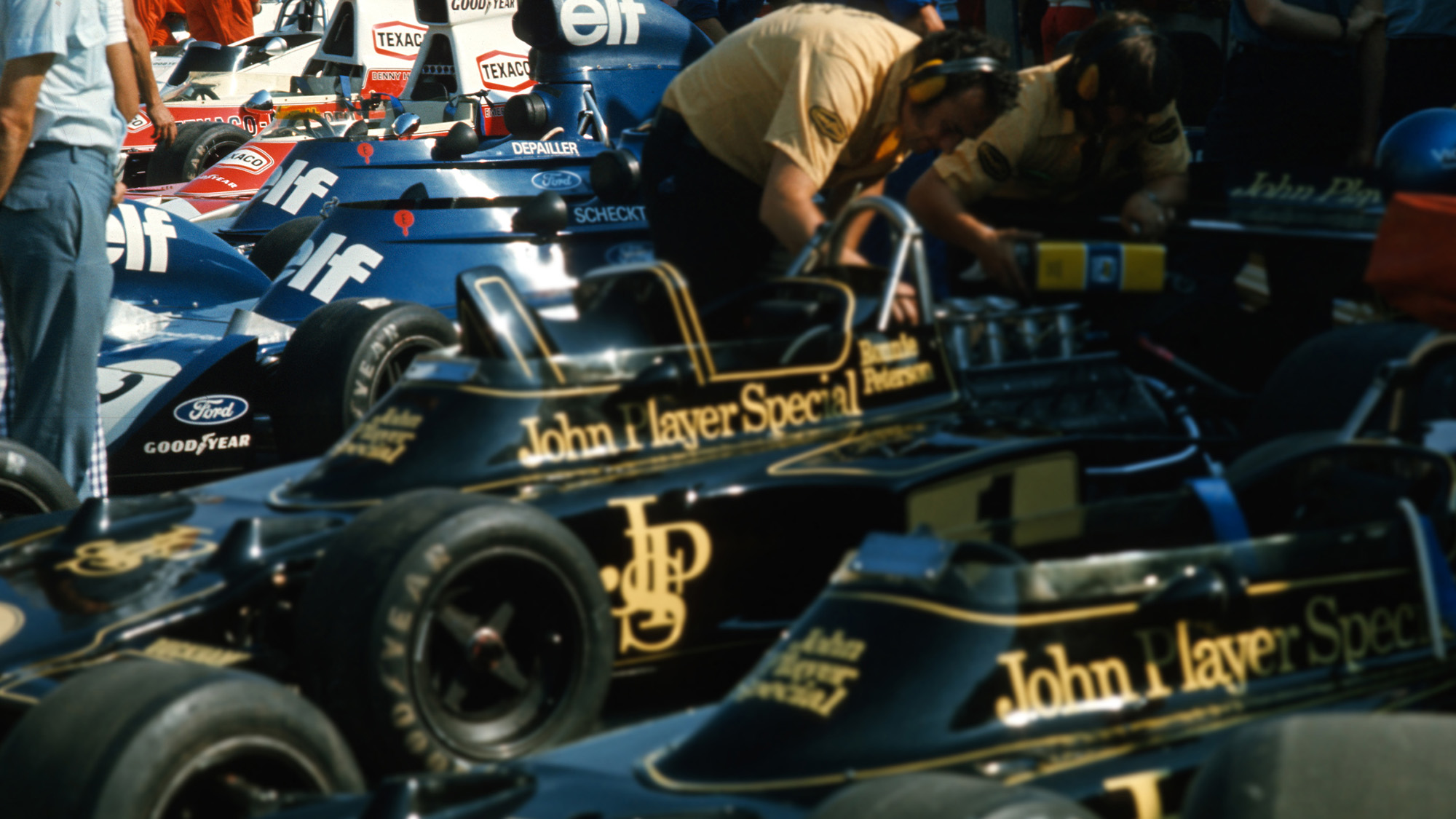 1974 Lotus Tyrrell and McLaren cars in the pits