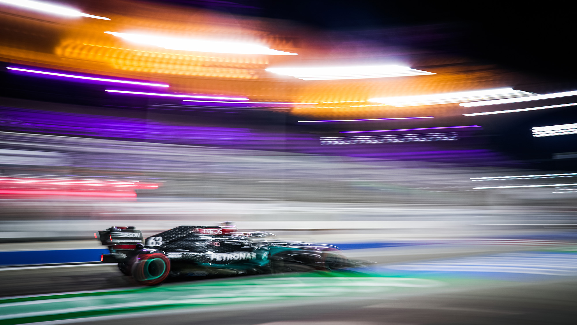 Blurred picture of George Russell's Mercedes in practice for the 2020 Sakhir Grand Prix
