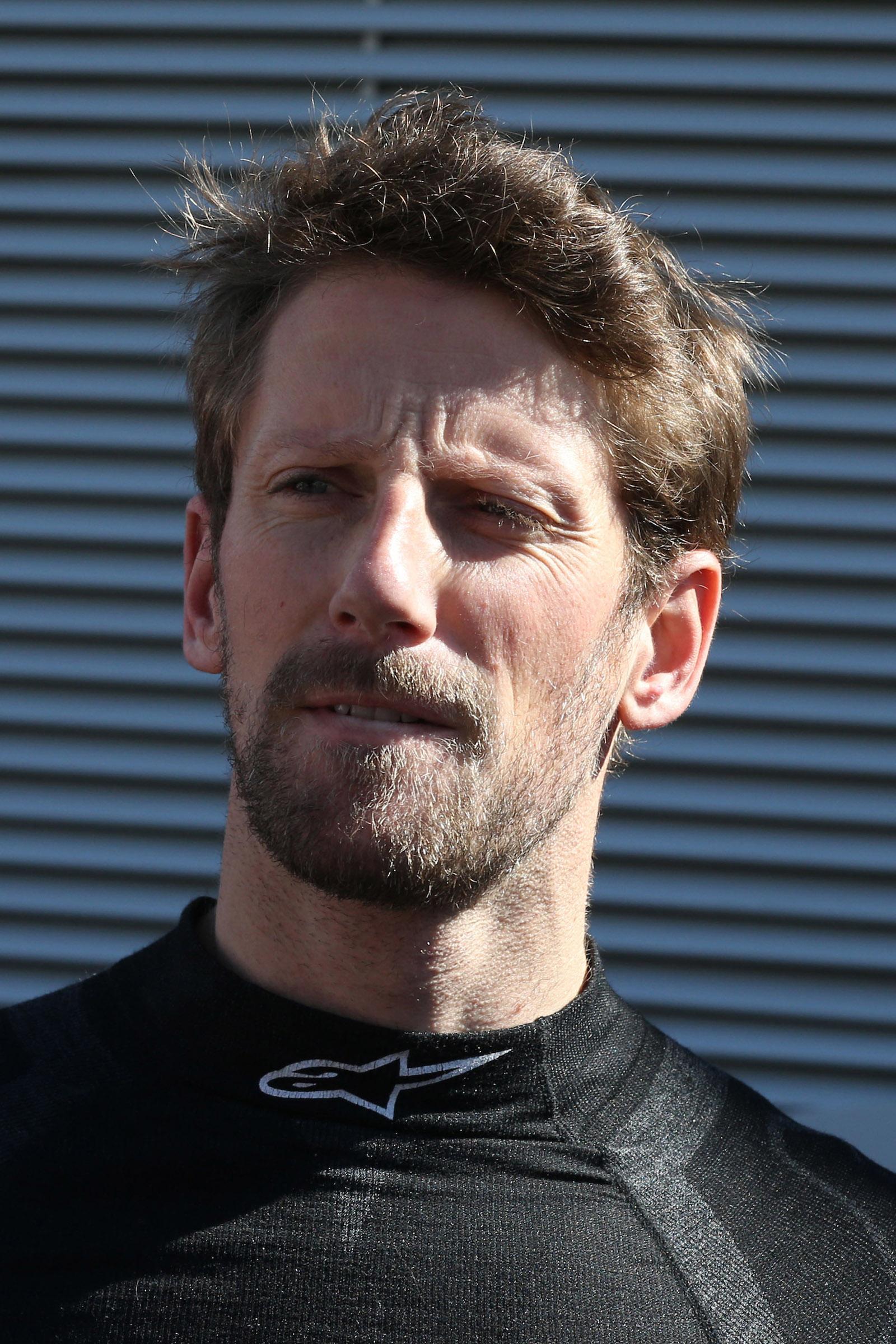 Romain Grosjean in Haas overalls