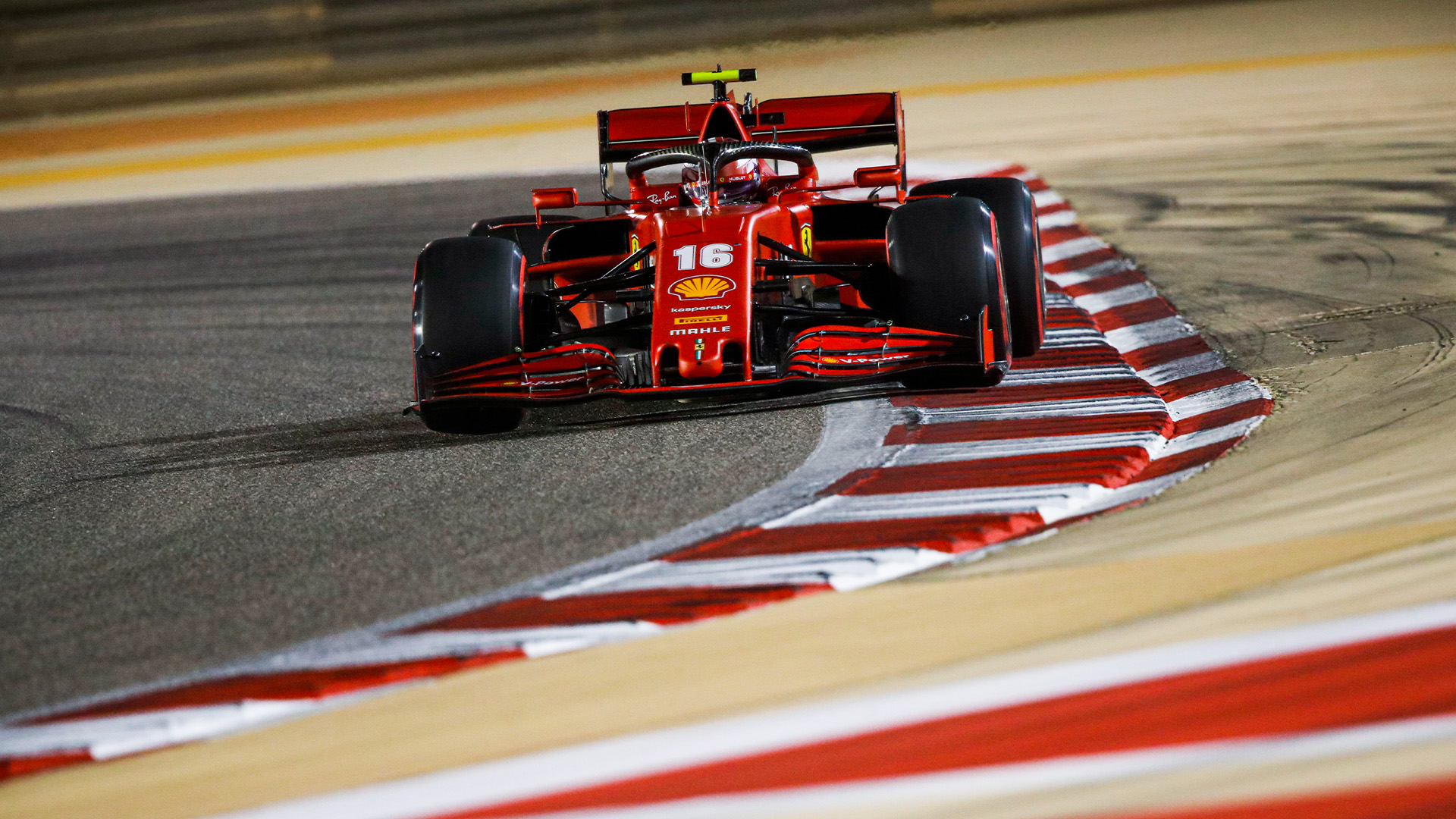 Charles Leclerc in qualifying for the 2020 F1 Sakhir Grand Prix