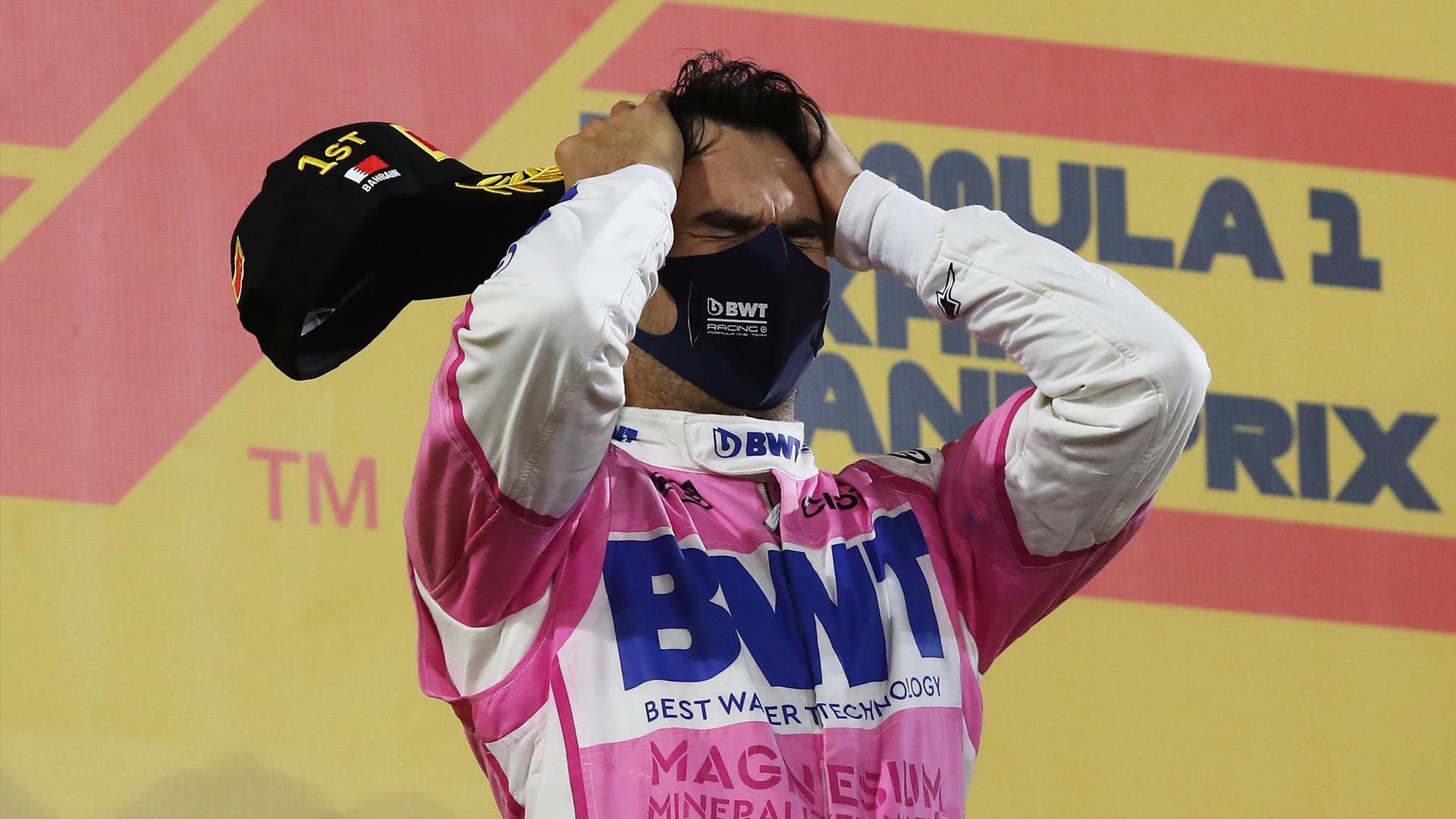 Sergio Perez after winning the 2020 Sakhir Grand prix