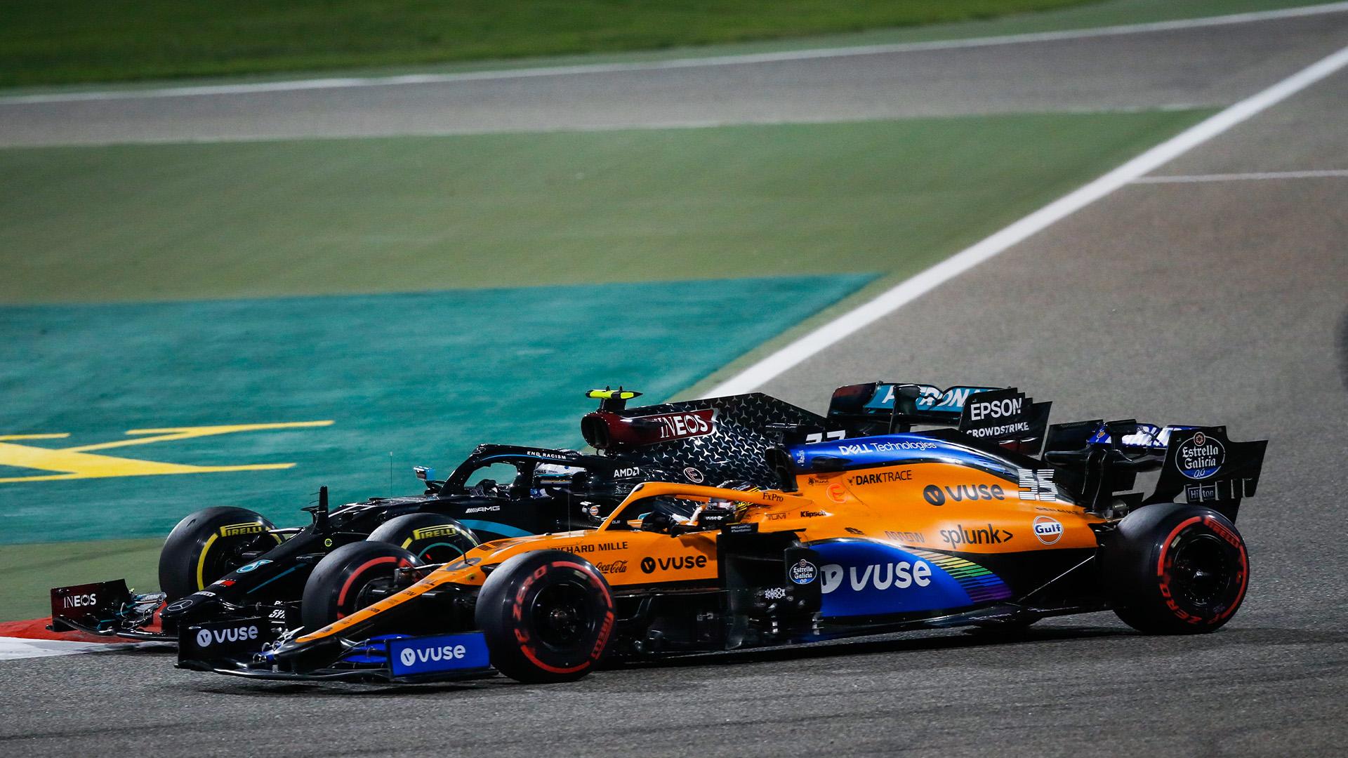 Valtteri Bottas battles with Carlos Sainz in the 2020 Sakhir Grand prix