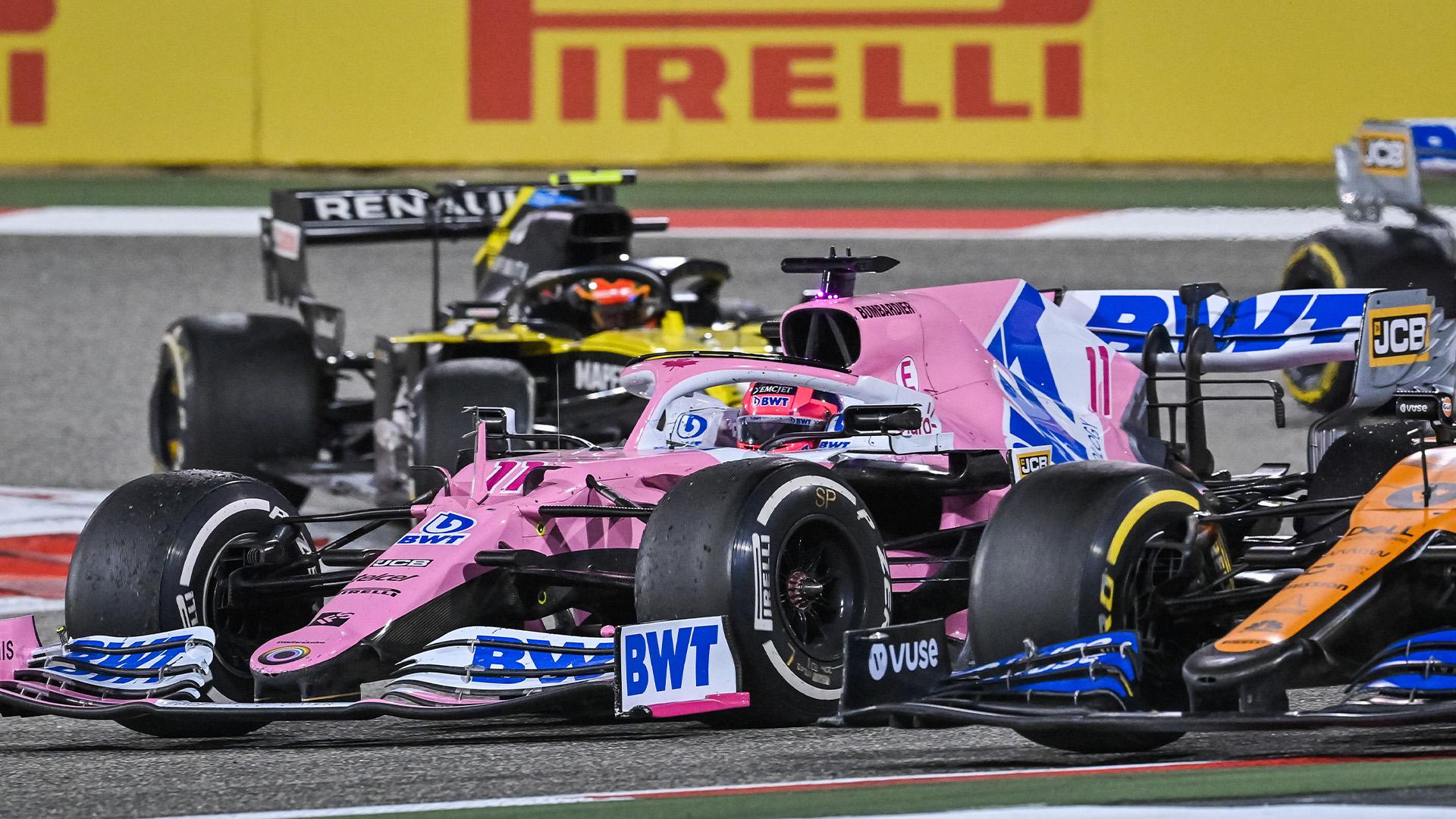 Sergio Perez passes Carlos Sainz during the 2020 Sakhir Grand Prix