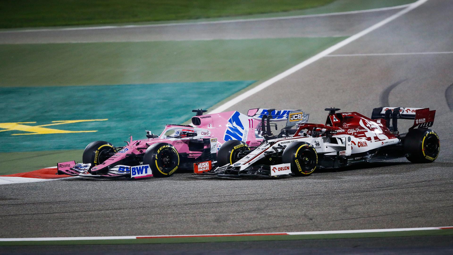 Sergio Perez overtakes Kimi Raikkonen in the 2020 Sakhir Grand Prix