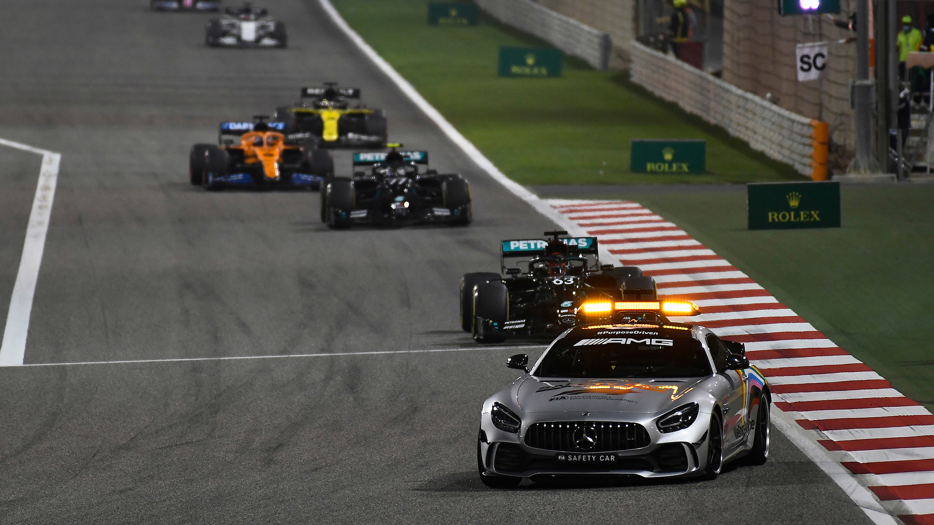 George Russell behind the safety car at the 2020 Sakhir Grand Prix