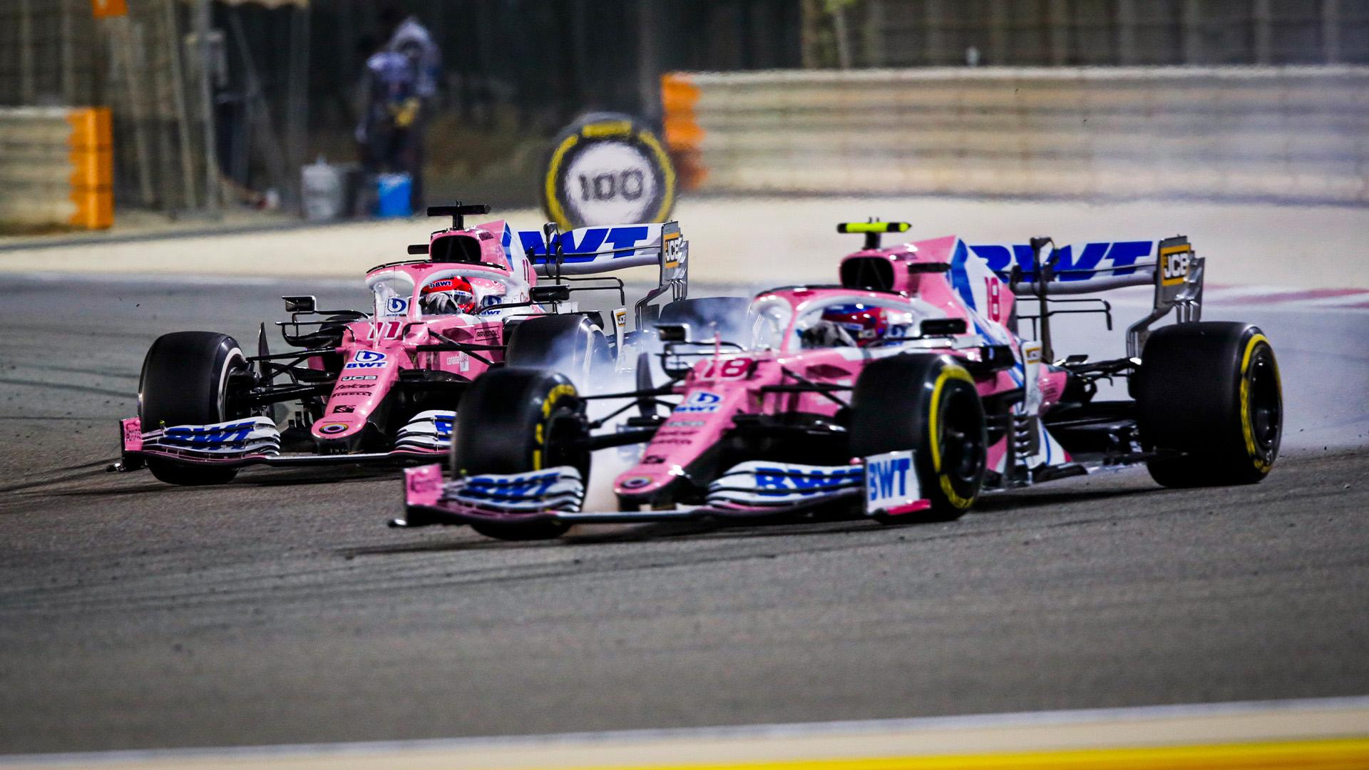 Lance Stroll locks up allowing Sergio Perez past at the 2020 Sakhir GP
