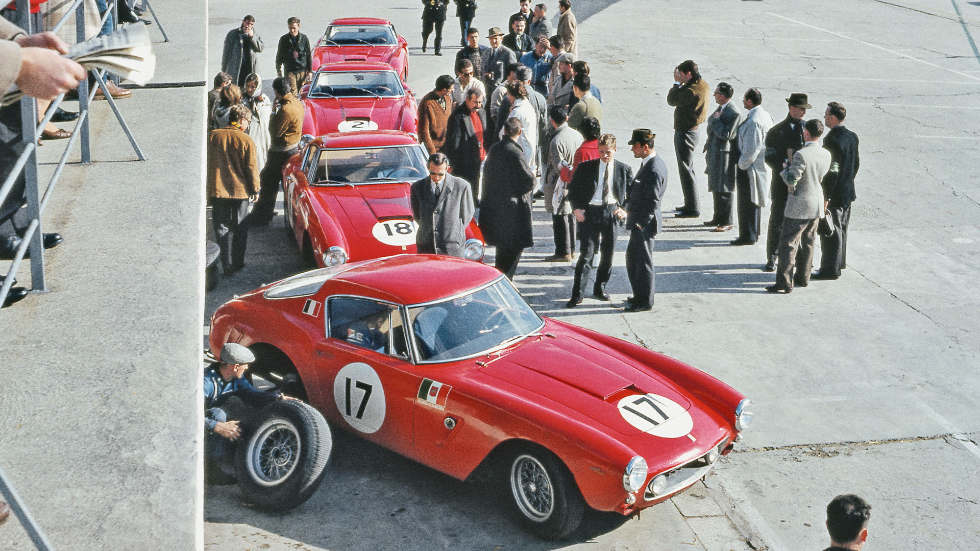 no fewer than four 250 GT SWBs sit in the Ferrari pits 1961