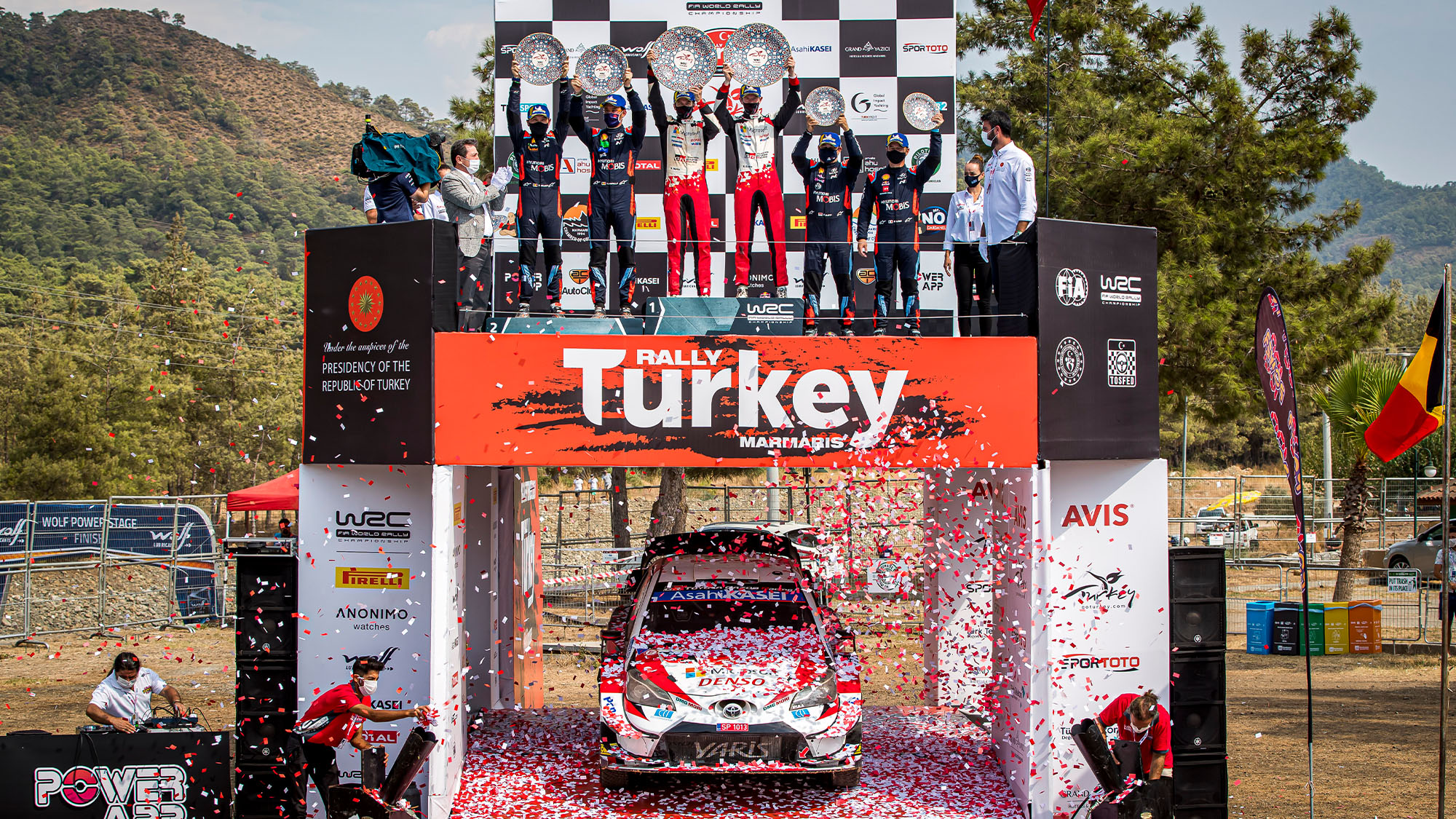 Elfyn Evans podium Toyota Rally Turkey 2020