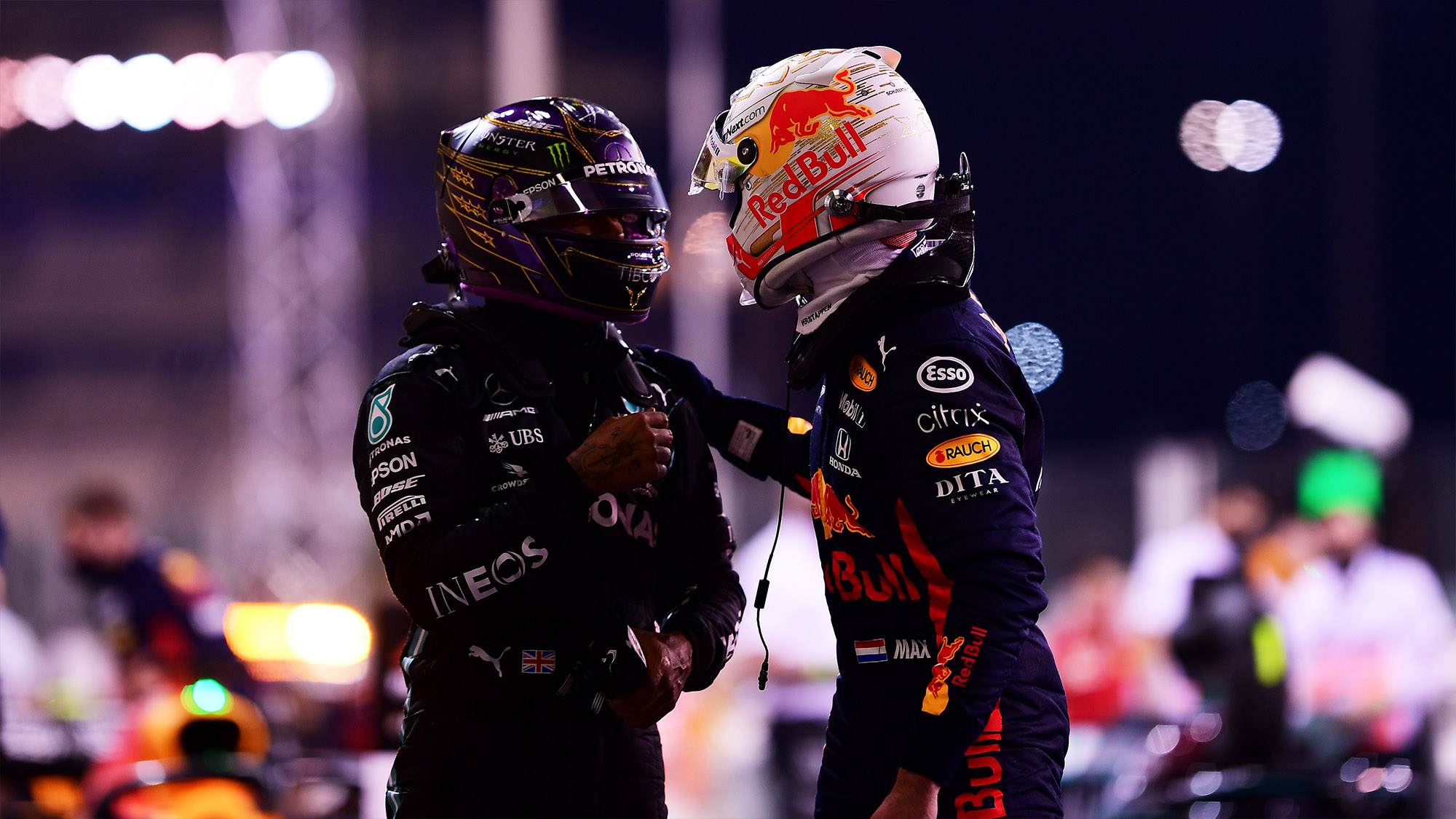 Max Verstappen with Lewis Hamilton after 2020 Abu Dhabi GP qualifying