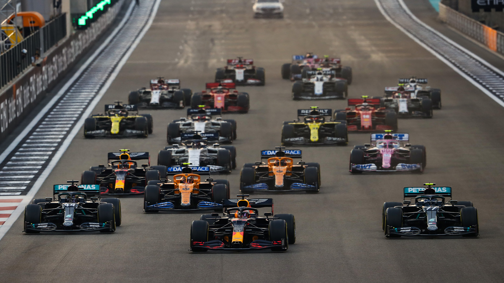 Max Verstappen leads at the start of the 2020 Abu Dhabi Grand Prix