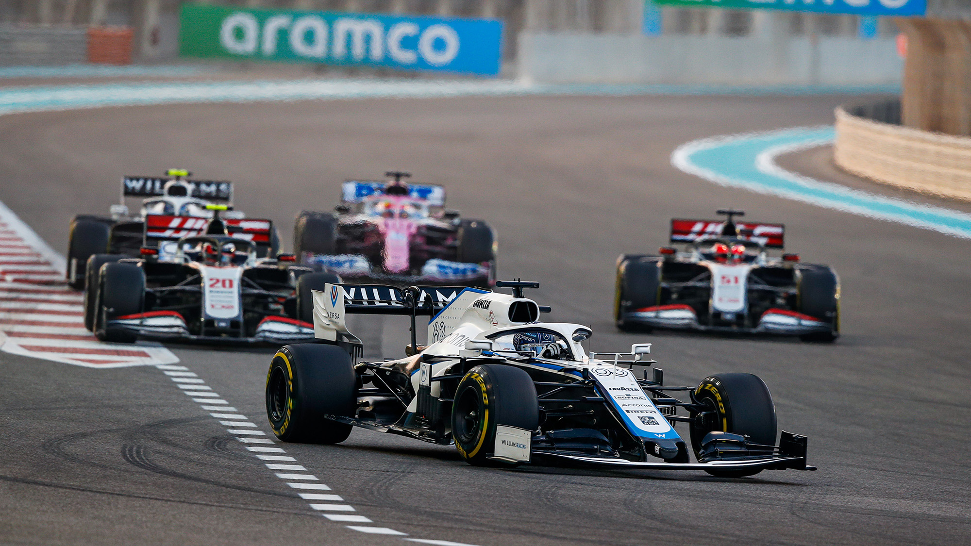 Sergio Perez at the back of the race at the 2020 Abu Dhabi Grand Prix