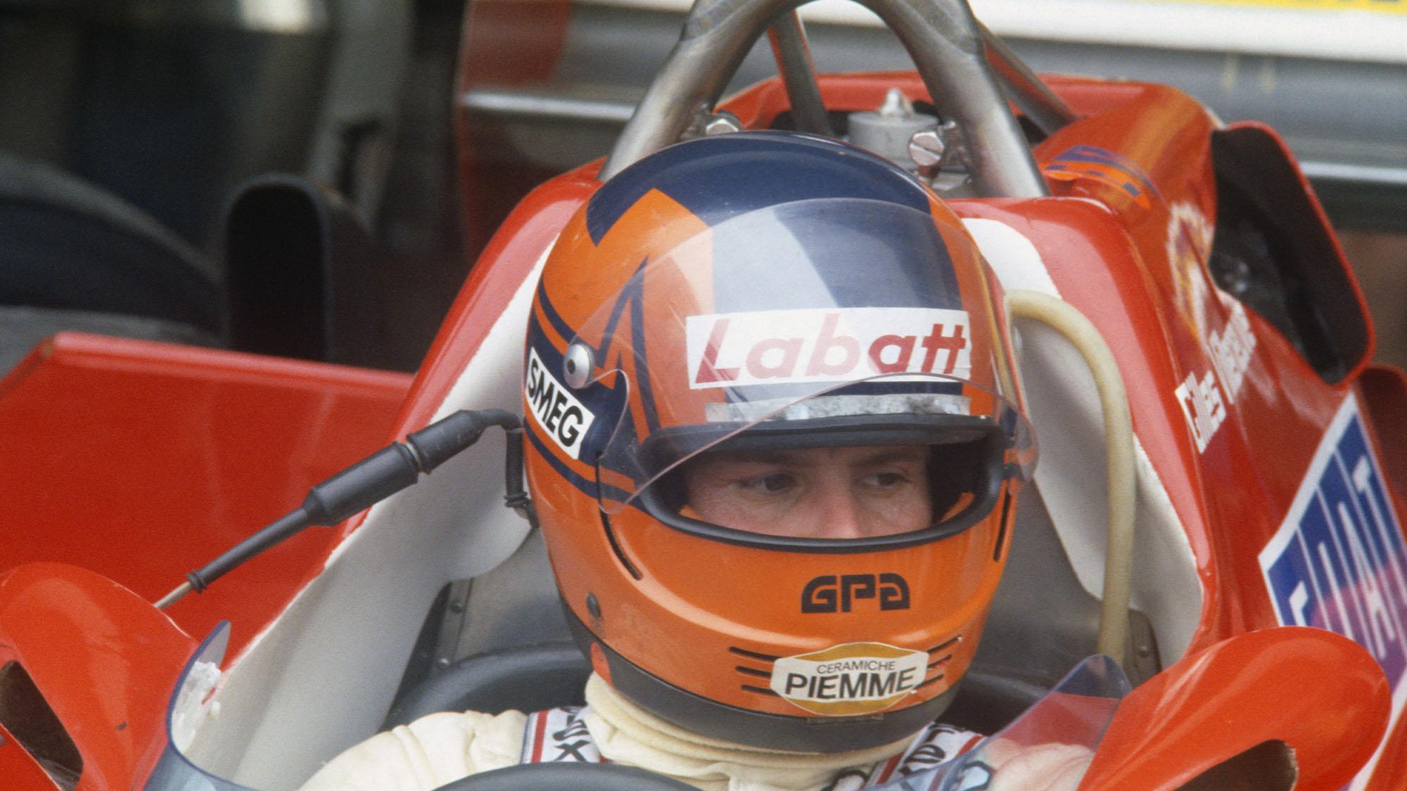 Gilles Villeneuve (Ferrari) in the pits with his helmet on before the 1981 Brazilian Grand Prix at the Jacarepagua circuit outside Rio de Janeiro. Photo: Grand Prix Photo