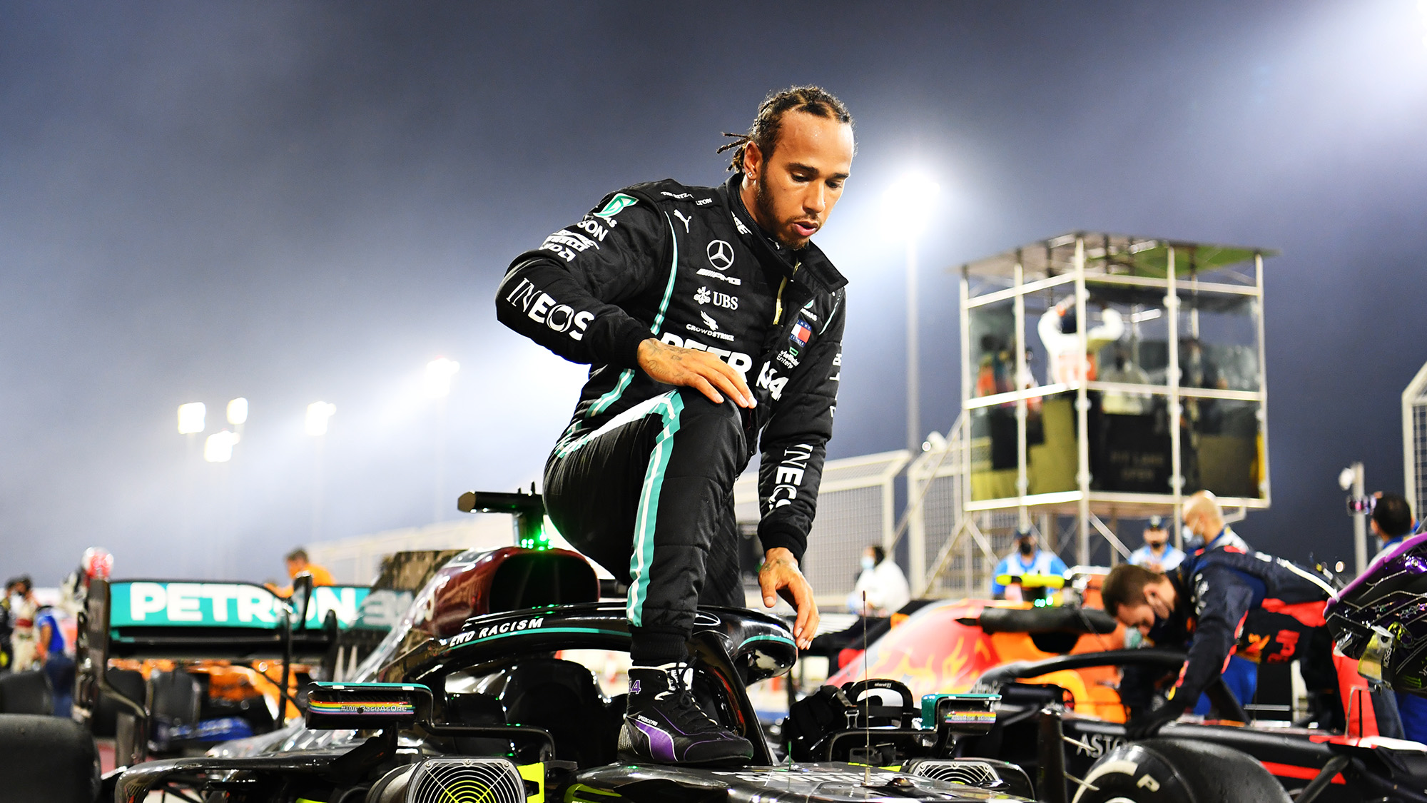 Lewis Hamilton climbs out of his Mercedes at the end of the 2020 Bahrain Grand Prix