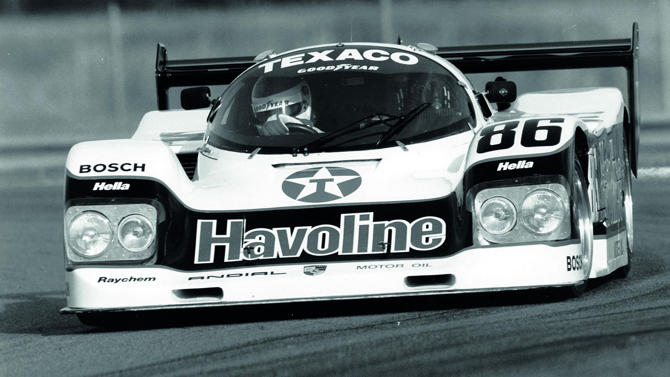 Klaus Ludwig driving a Porsche 962 at an IMSA GT race