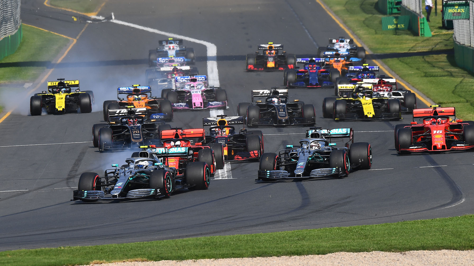 Valtteri Bottas leads Mercedes teammate Lewis Hamilton as the start of the 2019 Australian Grand Prix in Albert Park, Melbourne. Daniel Ricciardo (Renault) crashes). Photo: Grand Prix Photo