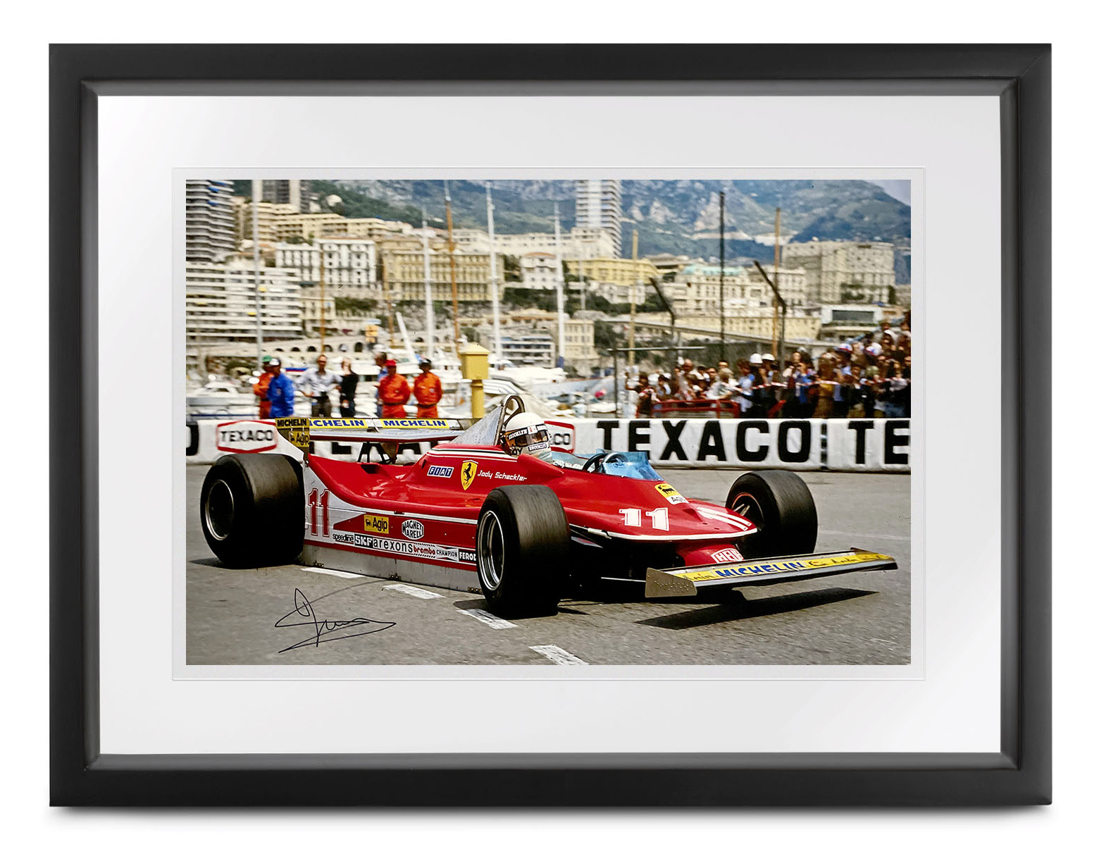 Product image for Ferrari 312 T4 photo | 1979 Monaco Harbour | signed Jody Scheckter