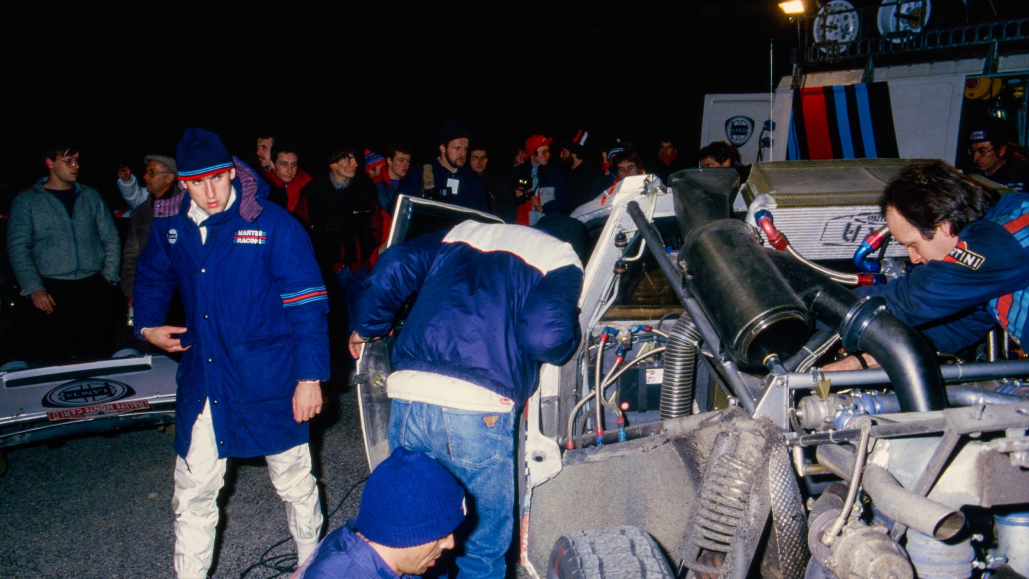 07 Toivonen Henri (fin), Cresto Sergio (usa), Lancia Martini, Lancia Delta S4, ambiance during the 1986 Rallye Automobile de Monte-Carlo 1986, 1st round of the 1986 World Rally Championship, from January 18 to 24, 1986 between Aix -les-Bains and Monaco - Photo DPPI
