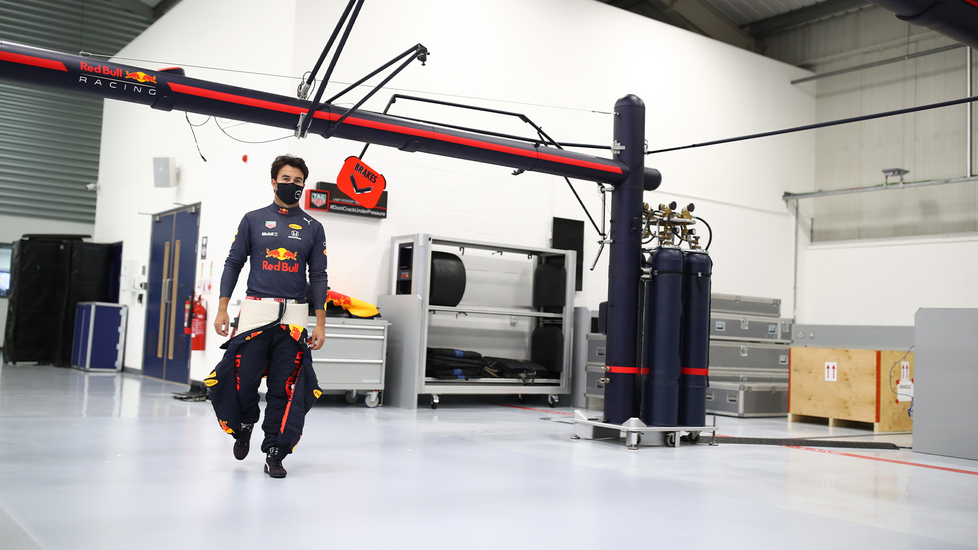 Sergio Perez in the Red Bull factory in January 2021