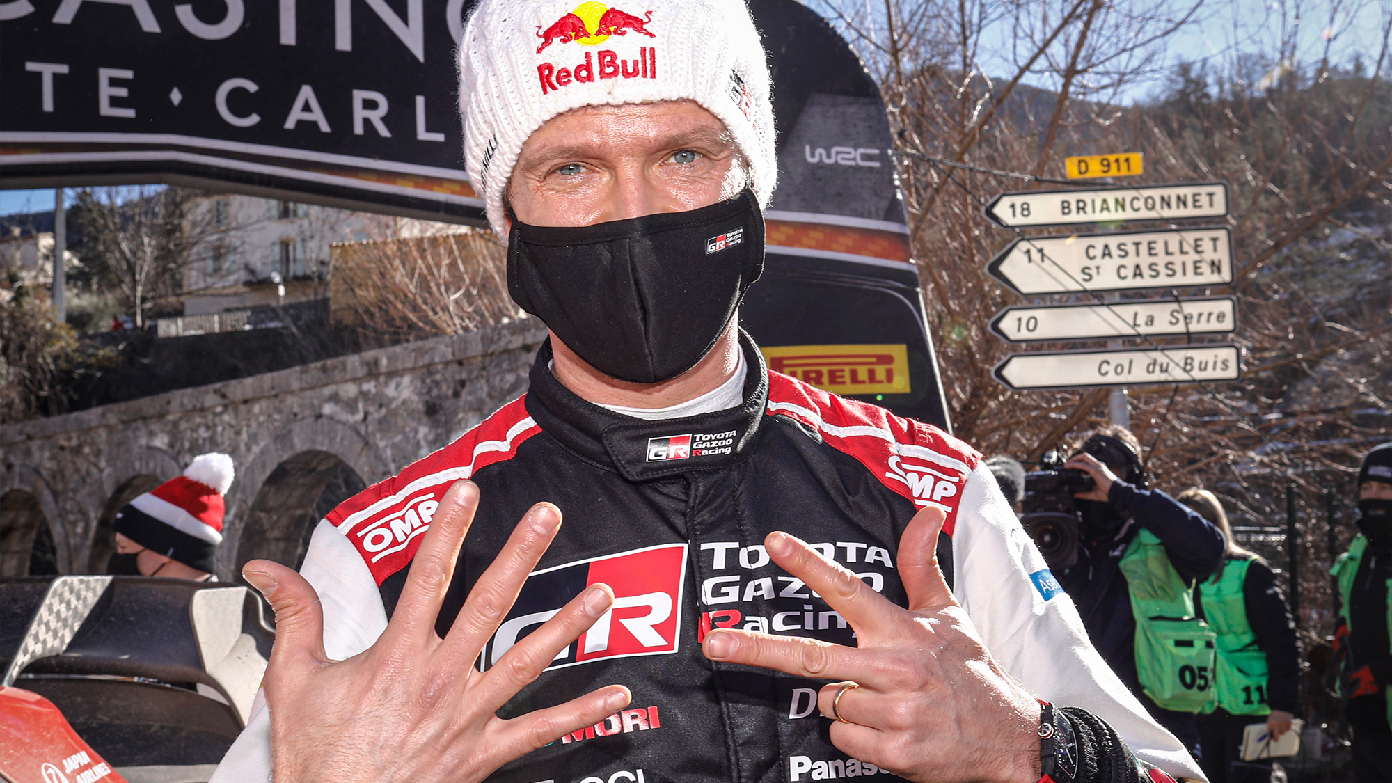Sebastien Ogier celebrates his 8th Monte Carlo rally in 2021