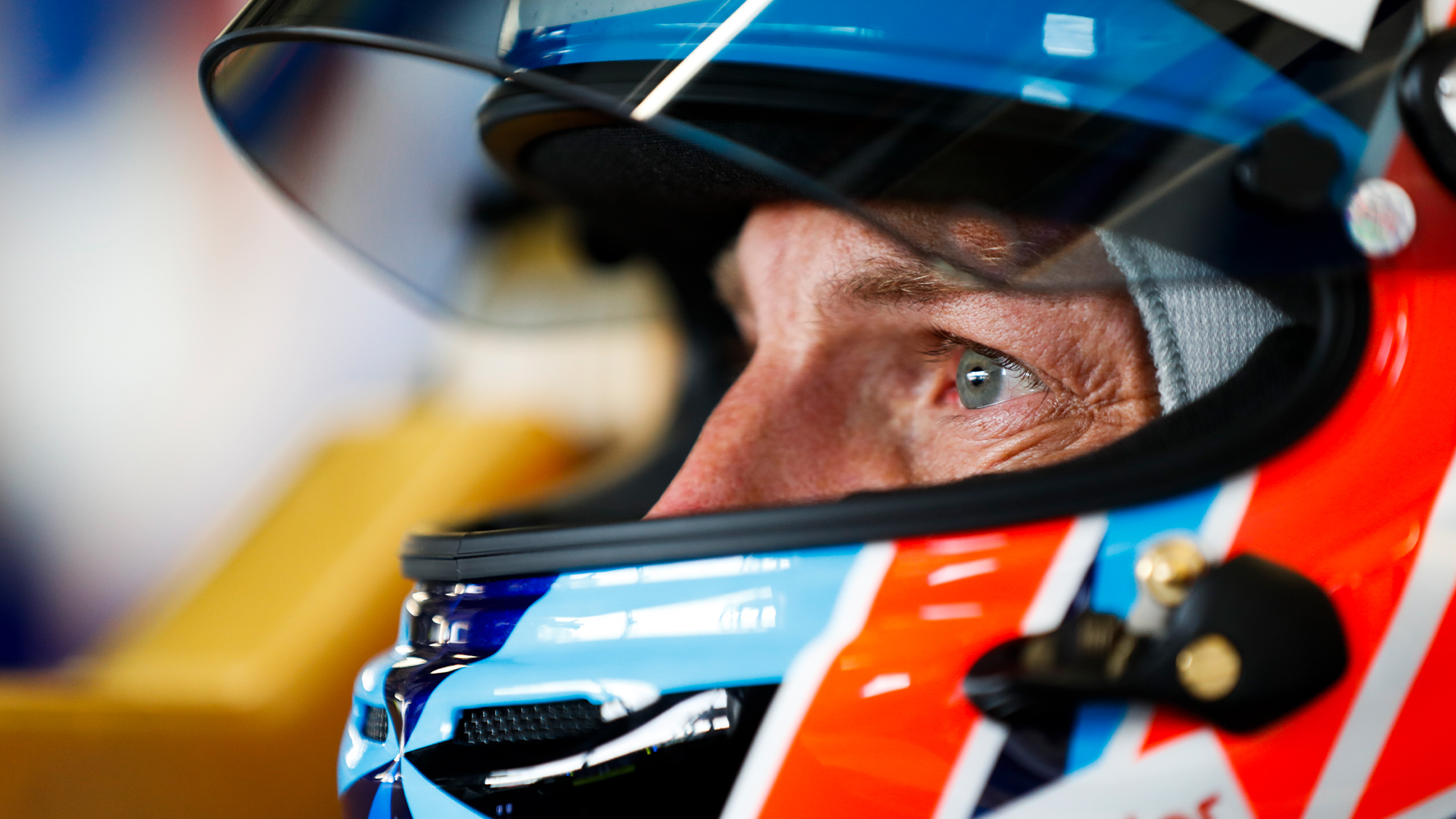 Jenson Button stares out from his helmet