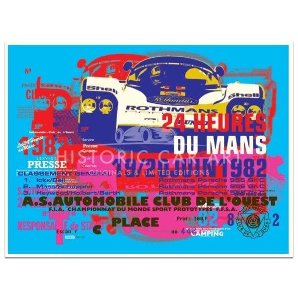 poster, car, le mans, race , colours, art