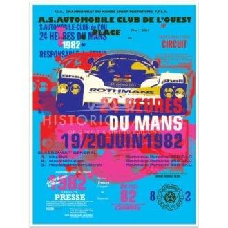 Product image for Porsche 956 | 1982 Le Mans 24 Hours Celebration | Poster no.1 | Studio Sportif | Art Print