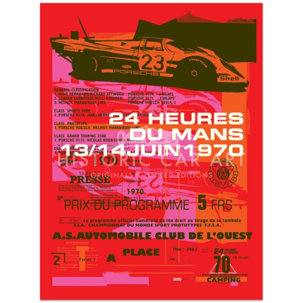 Product image for Porsche 917 | 1970 Le Mans 24 Hours Celebration | Poster no.4 | Studio Sportif | Art Print