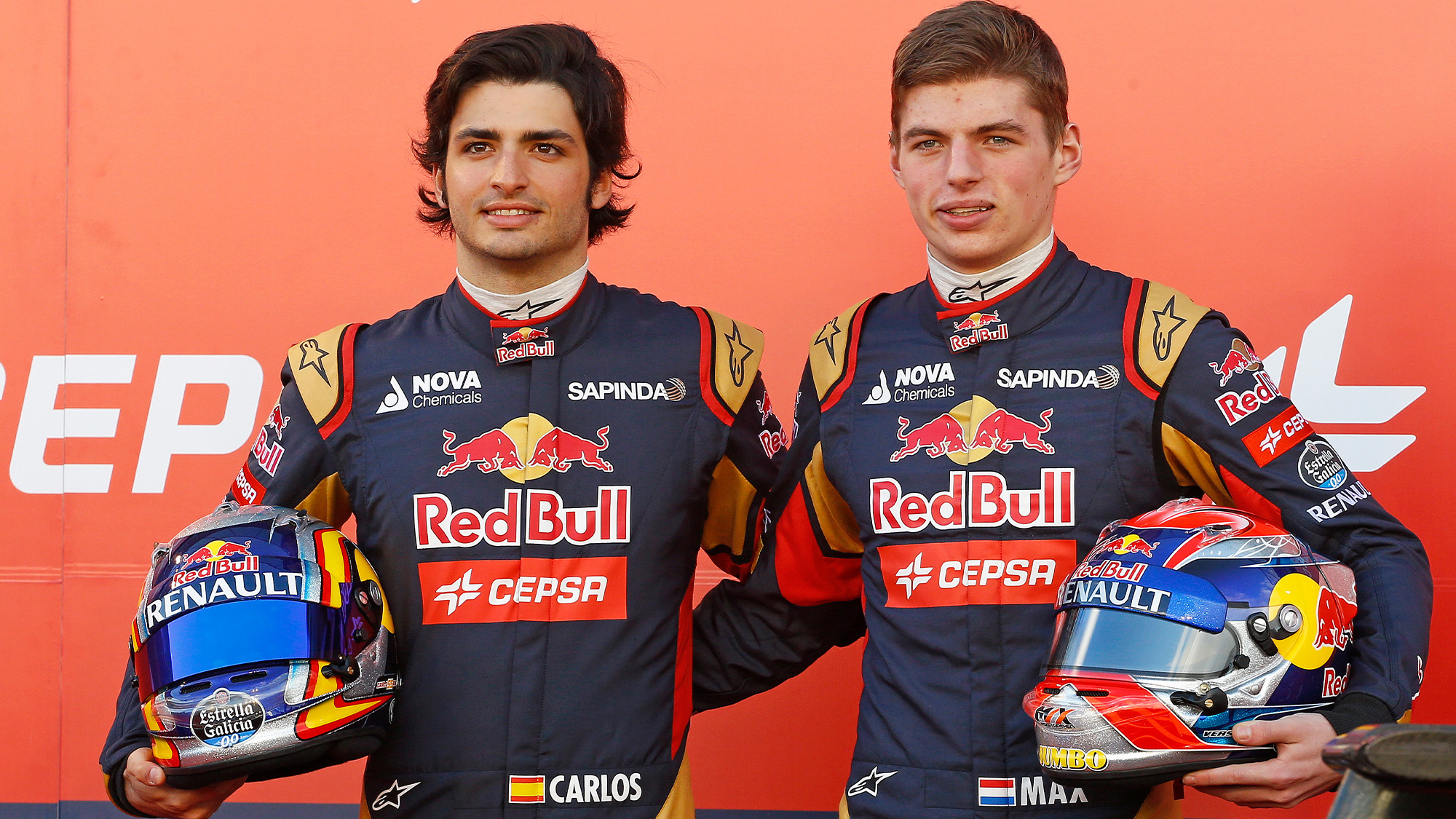 Carlos Sainz and Max Verstappen at the 2015 Toro Rosso launch