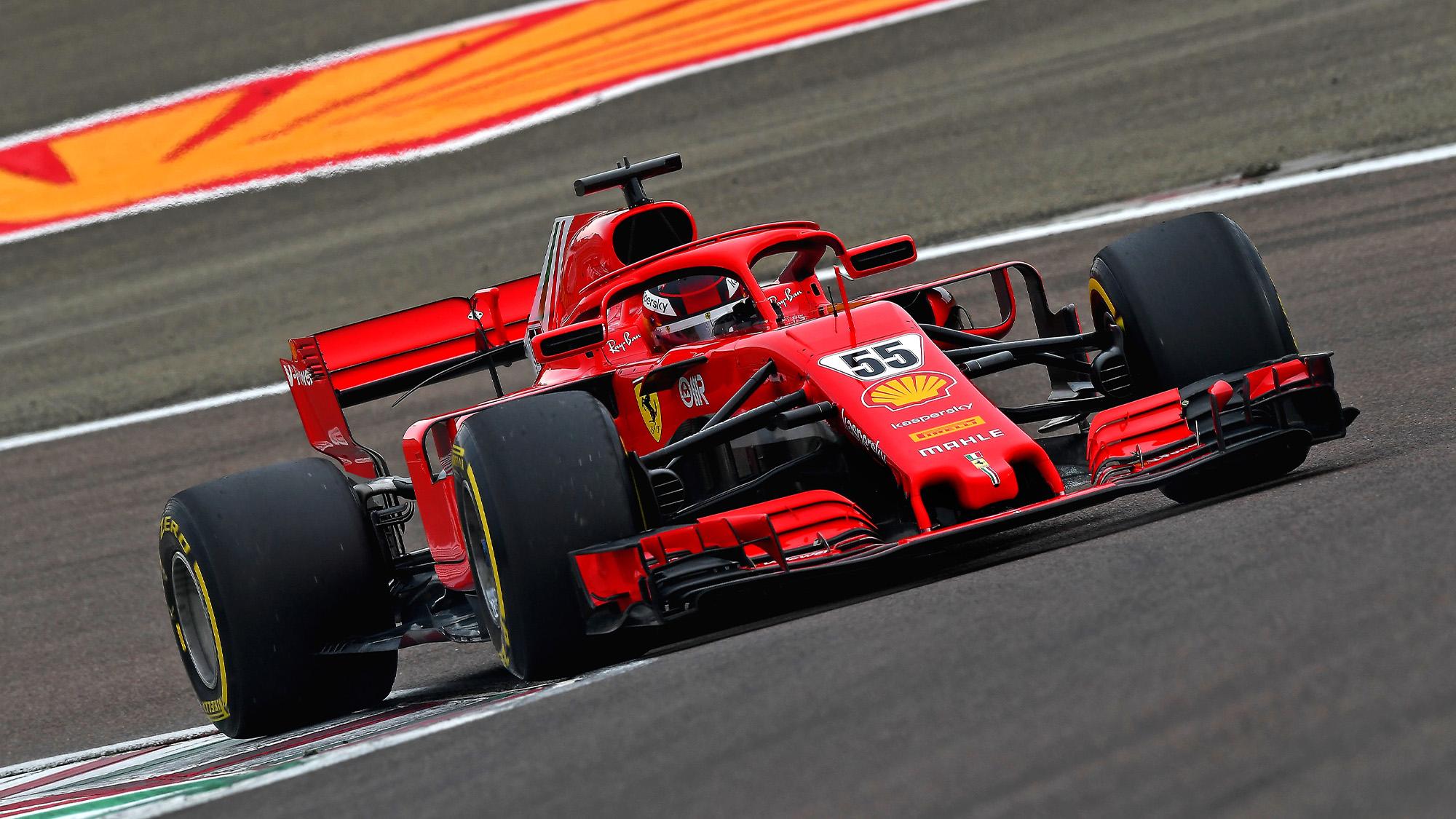 Carlos Sainz 2021 Fiorano Ferrari test in corner