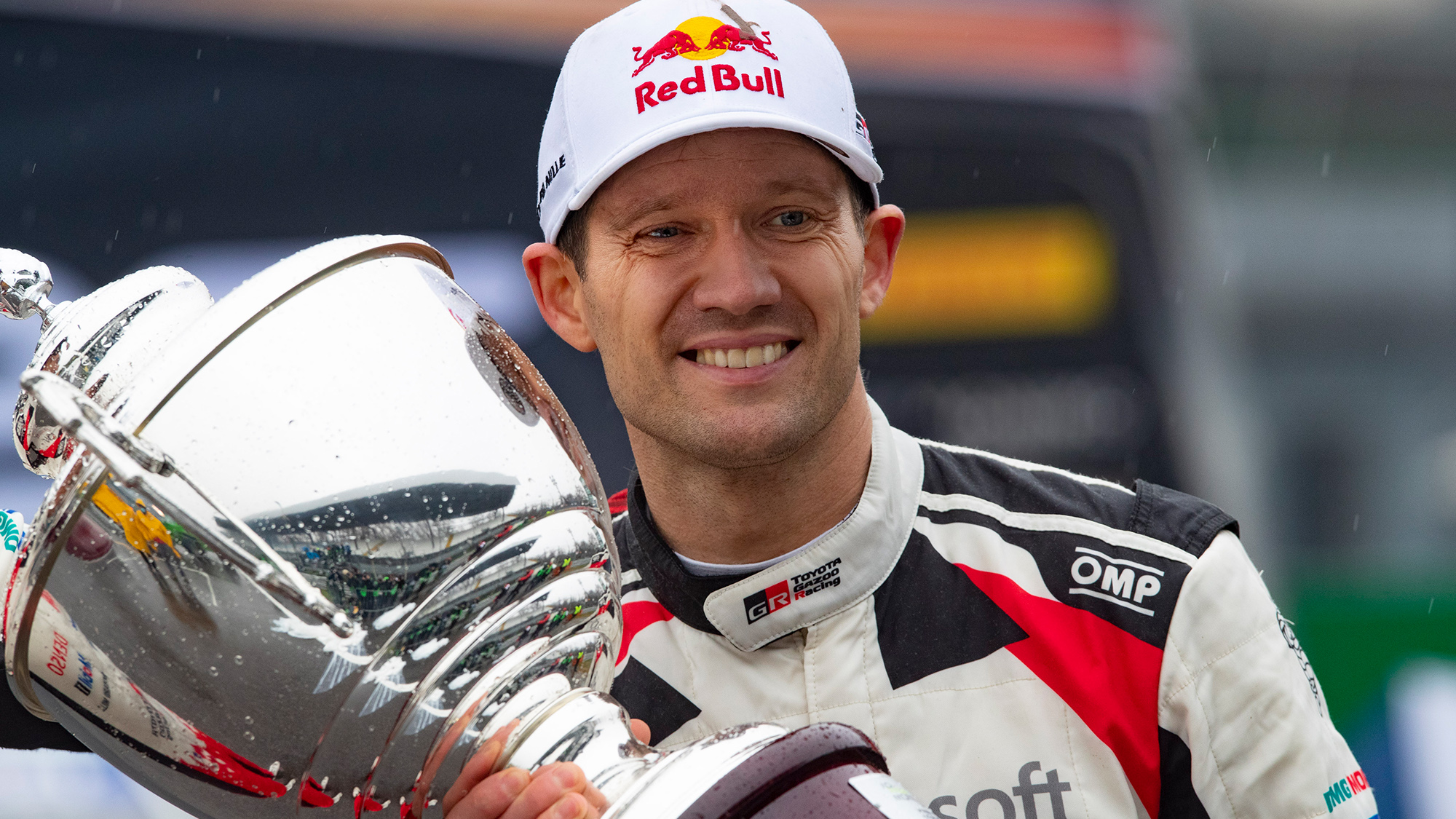Sebastien Ogier with his trophy after winning the 2021 Monte Carlo Rally