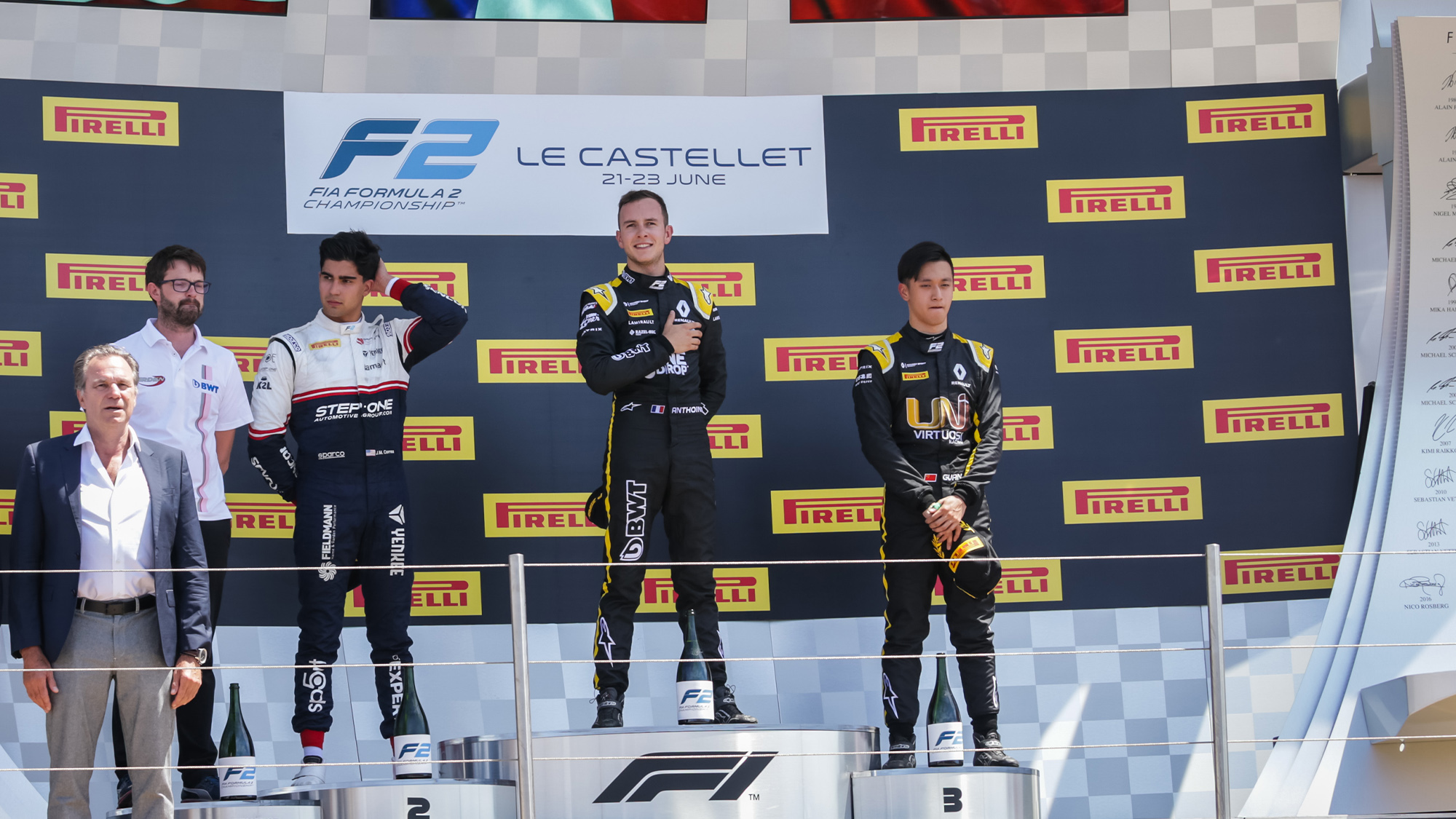 Juan Manuel Correa and Anthopine Hubert on the F2 podium at Paul Ricard in 2019