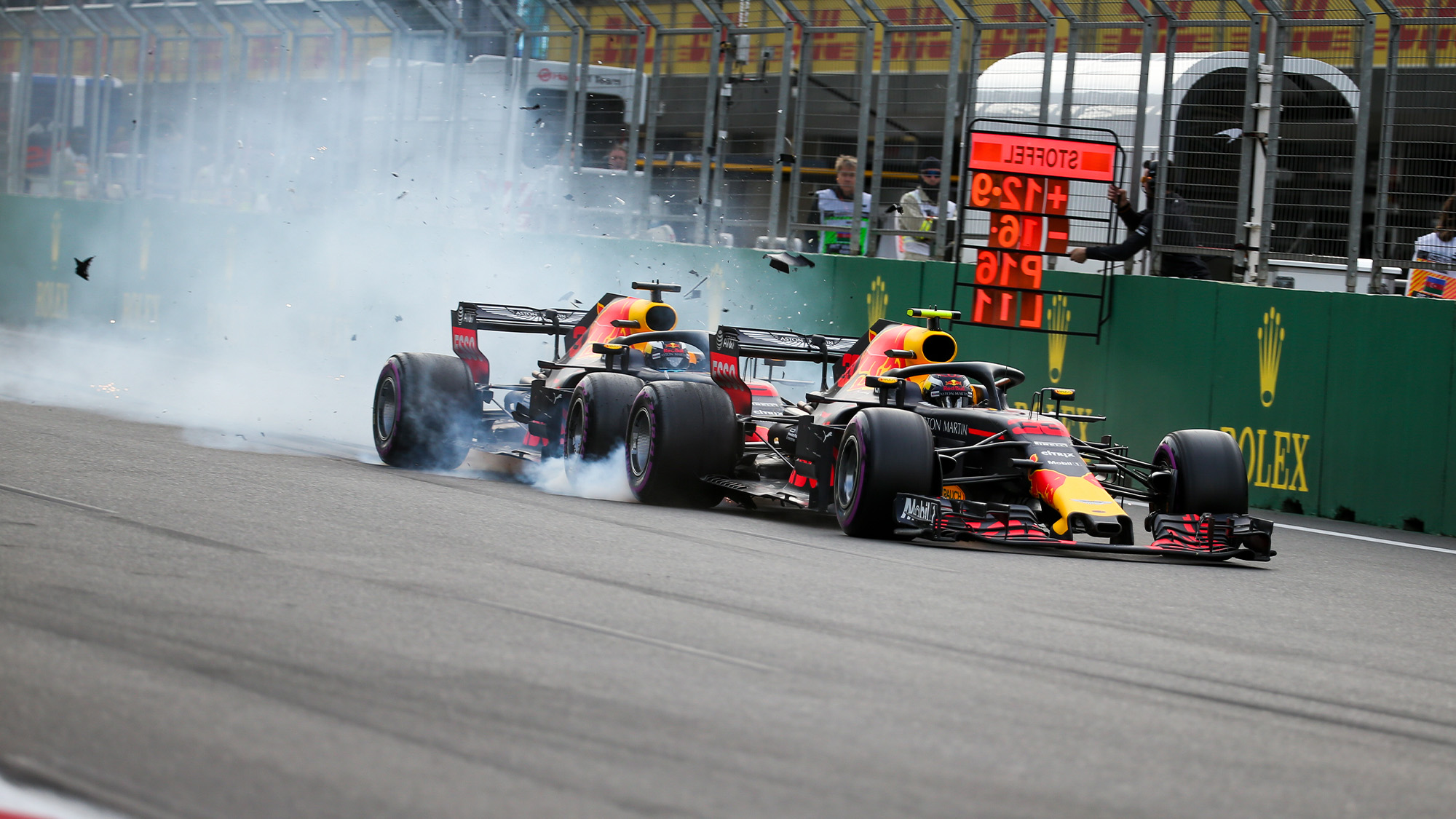 Daniel Ricciardo and Max Verstappen collide in Baku at rhe 2018 Azerbaijan Grand Prix