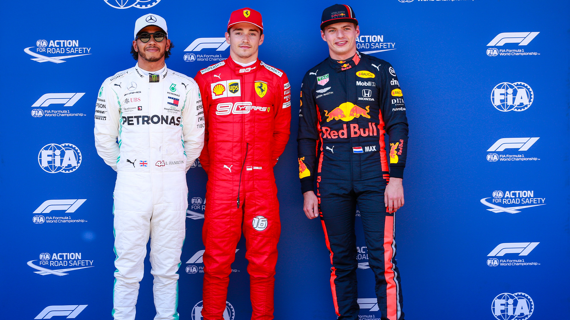 Lewis Hamilton Charles Leclerc and Max Verstappen