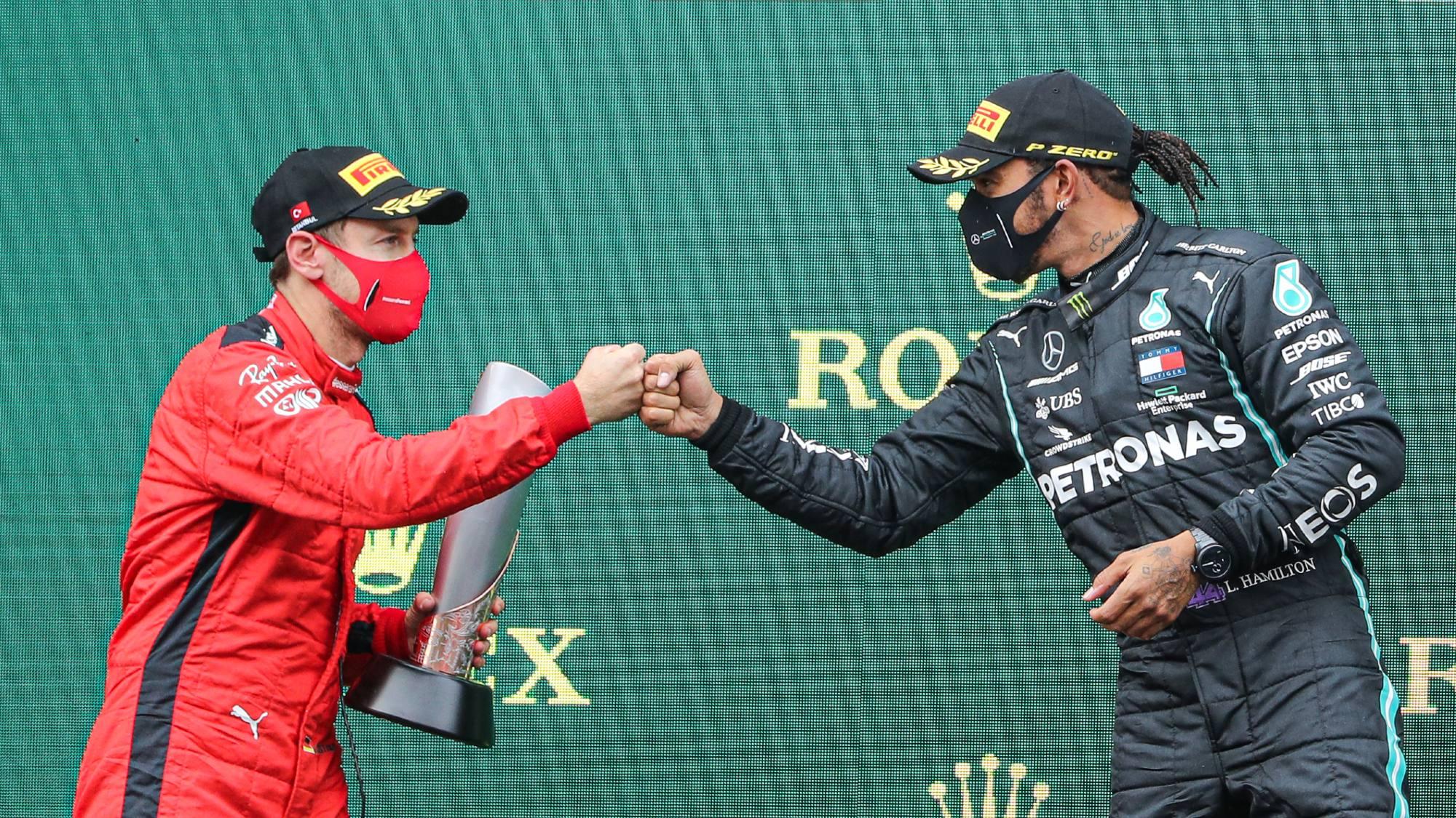 Lewis Hamilton, Sebastian Vettel 2020 Turkish GP