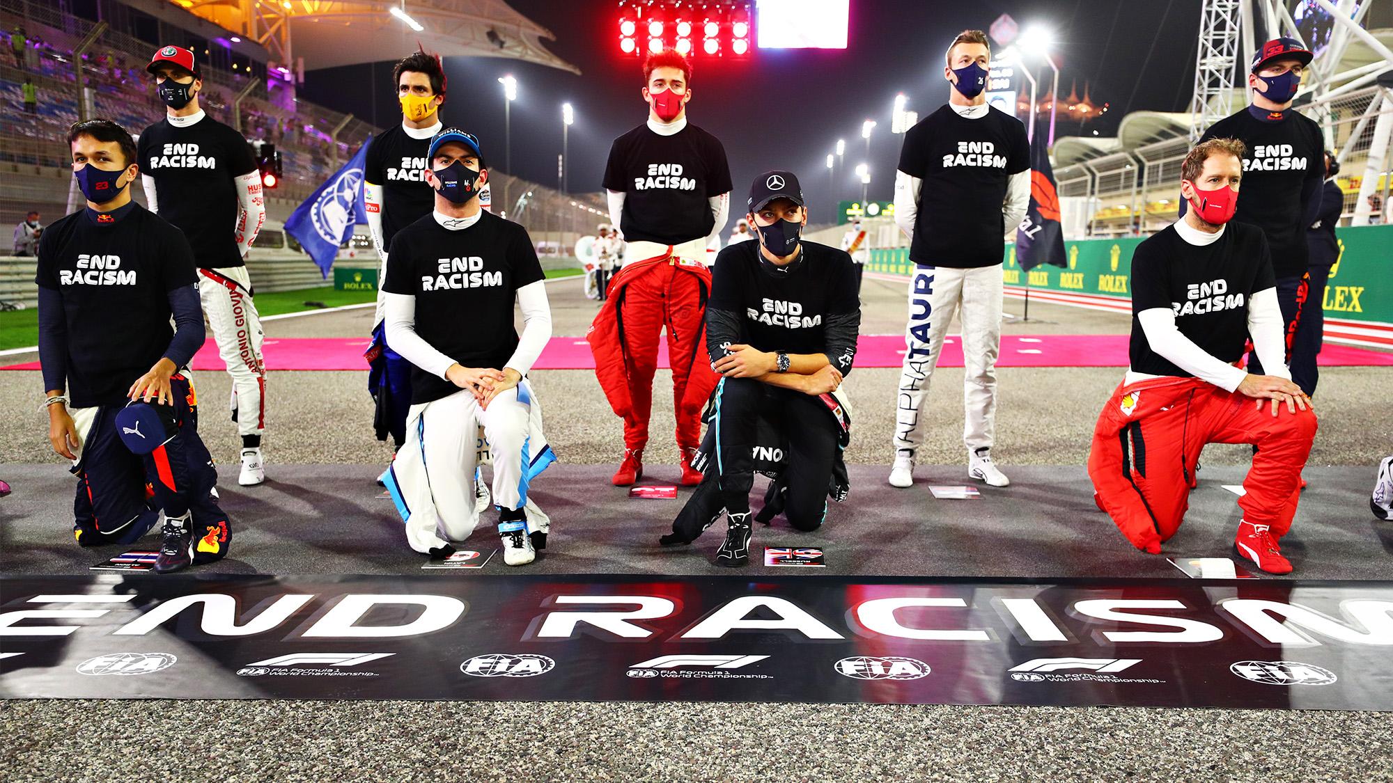 F1 drivers kneel in an anti-racism gesture ahead of the 2020 Bahrain Grand Prix