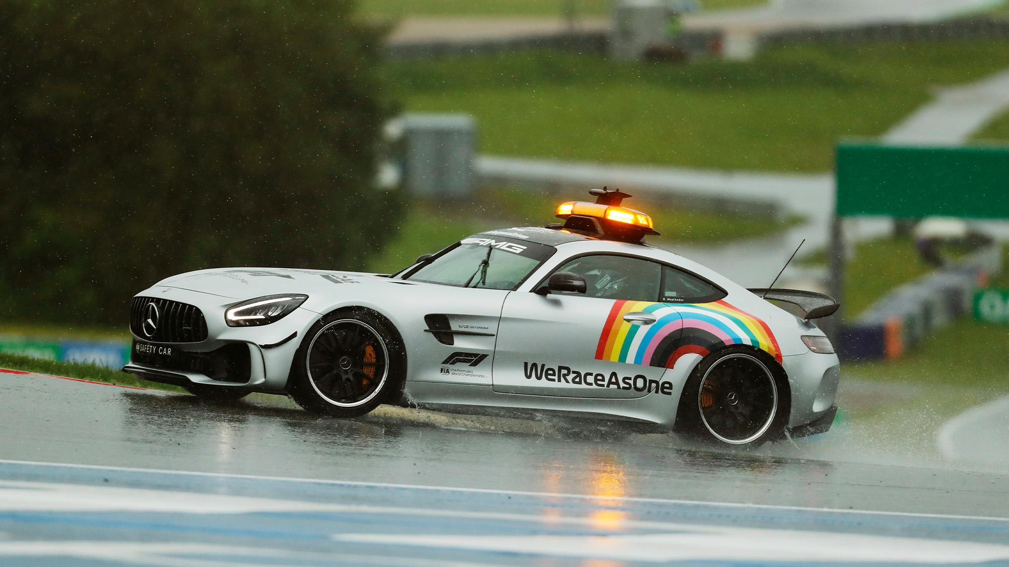 WeRaceAsOne rainbow logo on F1 safety car