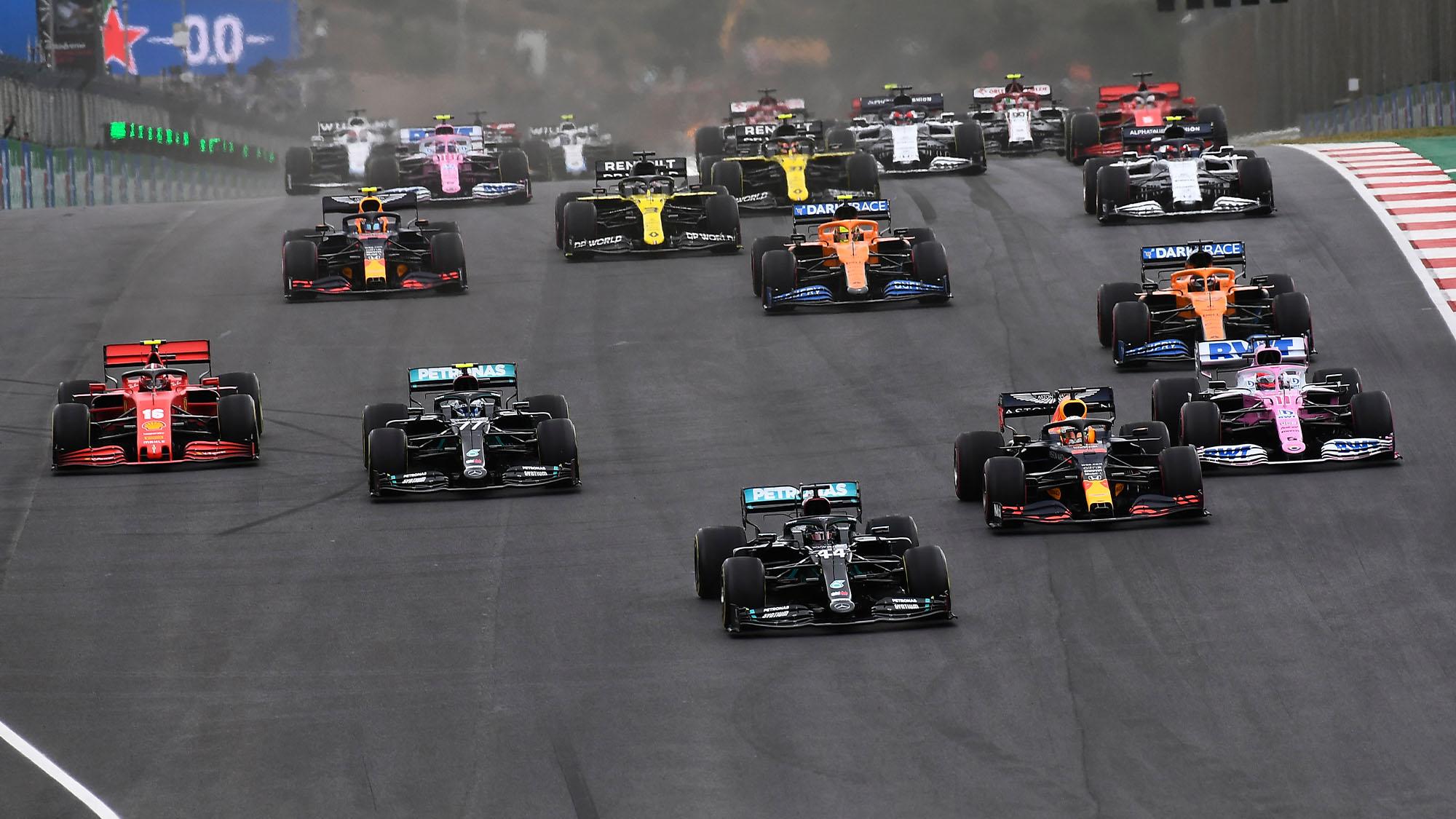 Lewis Hamilton (Mercedes) takes the lead at the start of the 2020 Portuguese Grand Prix in Portimao. Photo: Grand Prix Photo