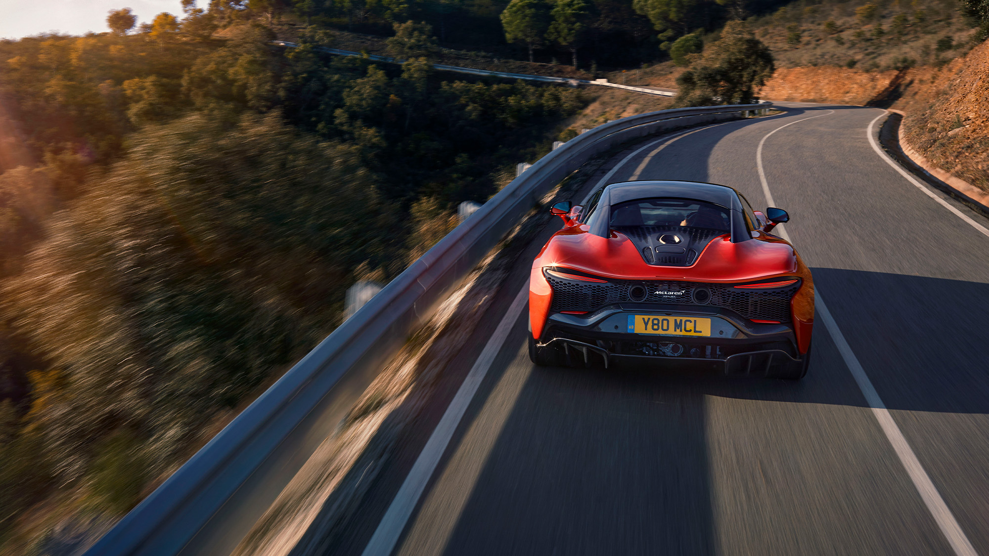 2021 McLaren Artura rear on road