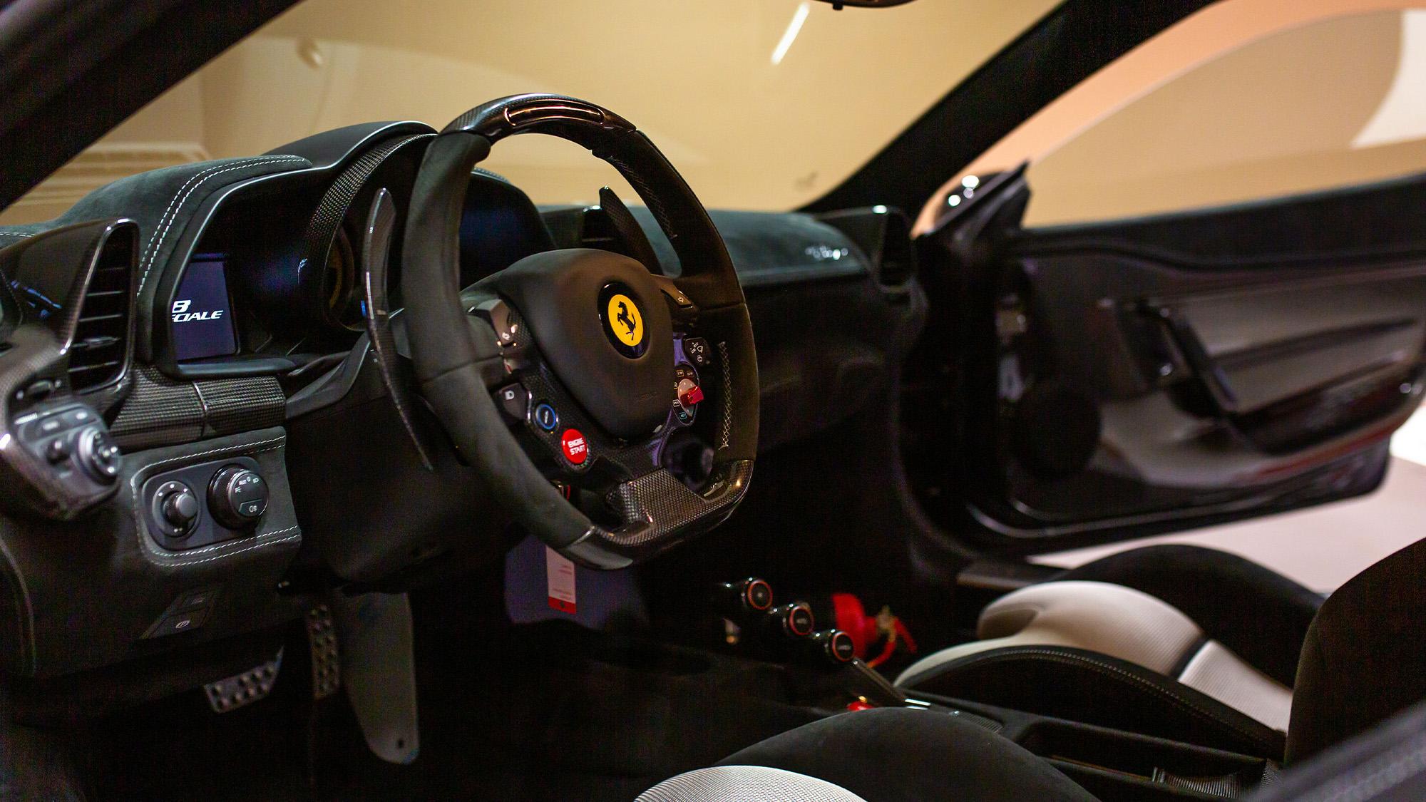 Sebastian Vettel Ferrari 458 Speciale interior