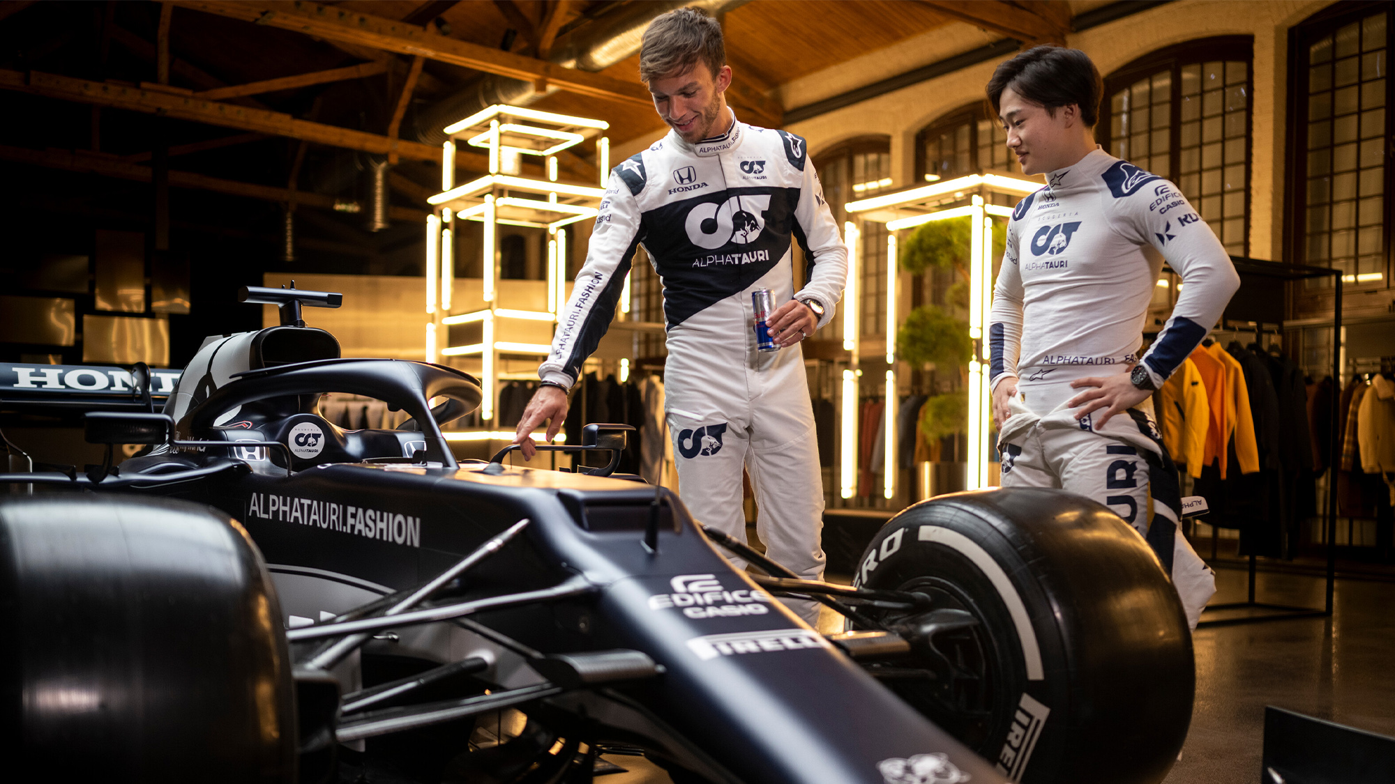 Pierre Gasly and Yuki Tsunoda at the launch of the 2021 AlphaTauri livery