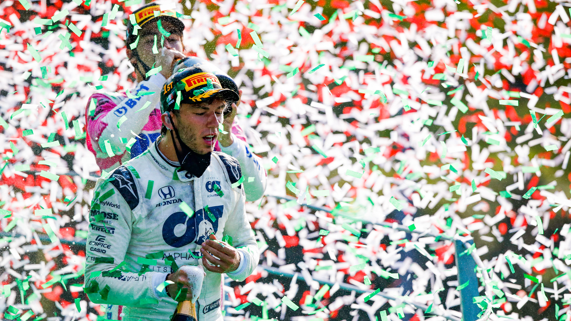 Pierre Gasly celebrates victory in the 2020 Italian Grand prix
