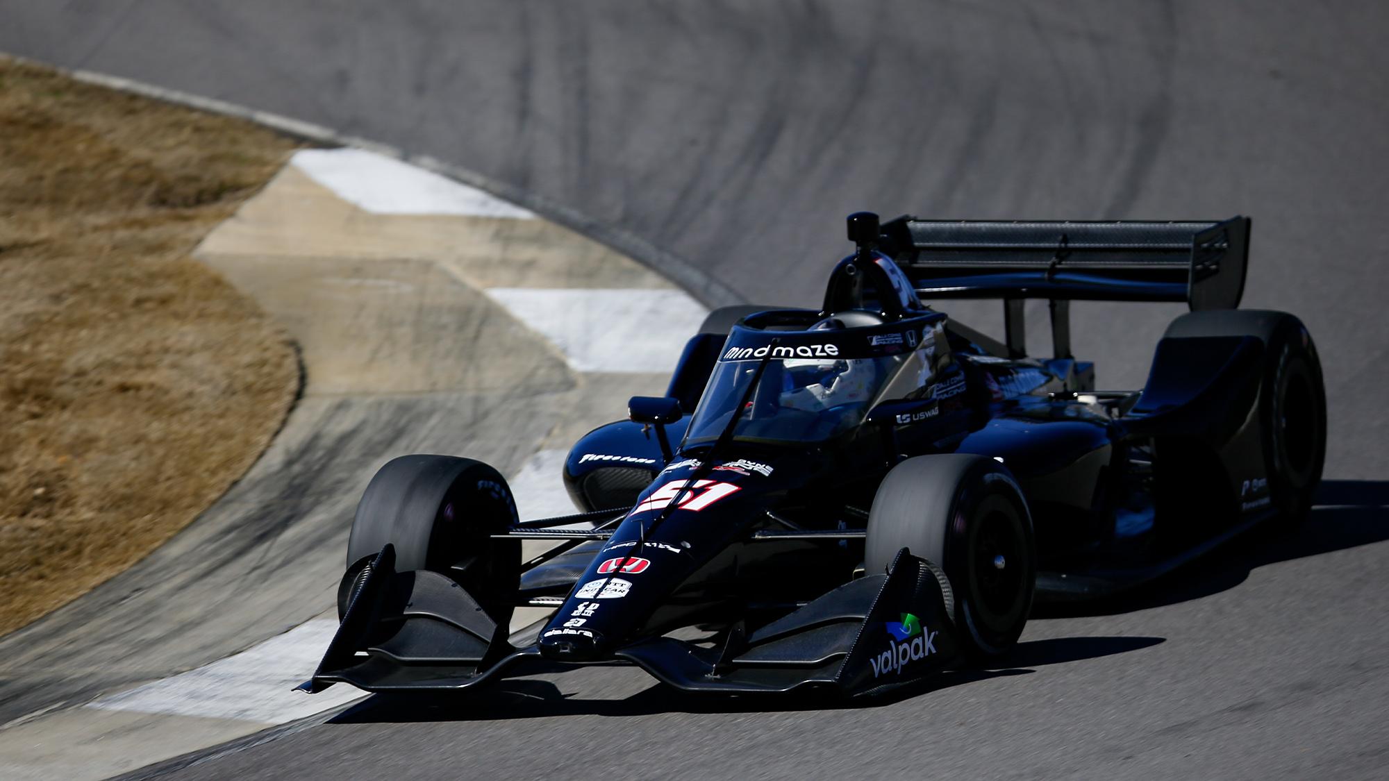 Romain Grosjean cornering in his 2021 Indycar test
