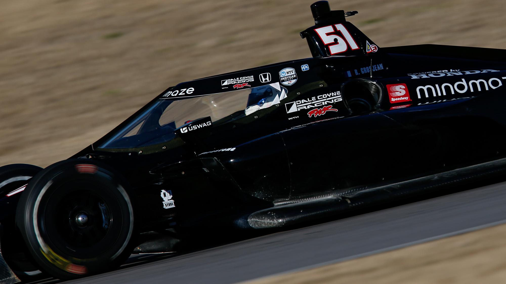 Romain Grosjean on track during his 2021 Indycar test