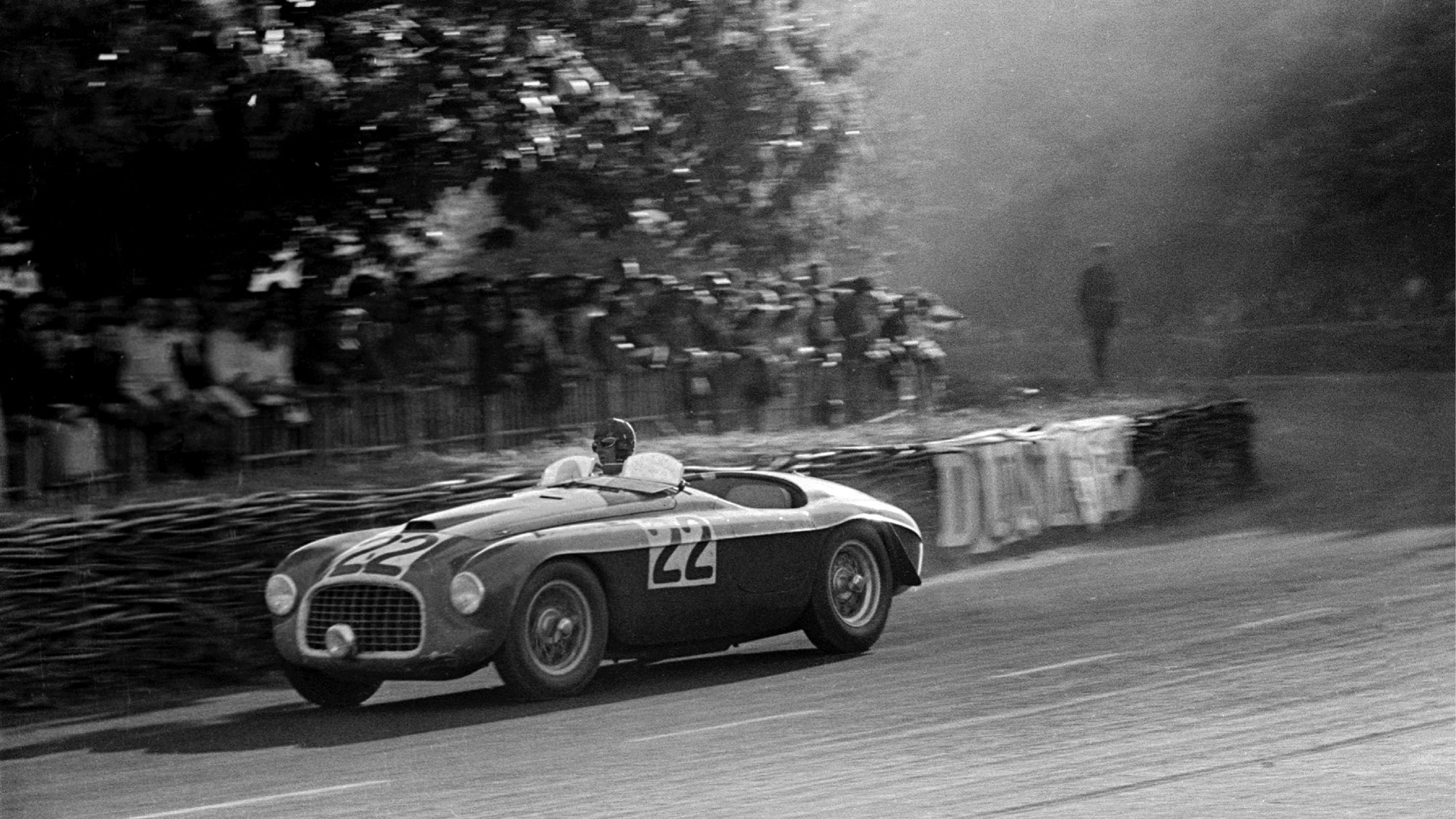 Luigi Chinetti in his Ferrari 166MM at the 1949 Le Mans 24 Hours